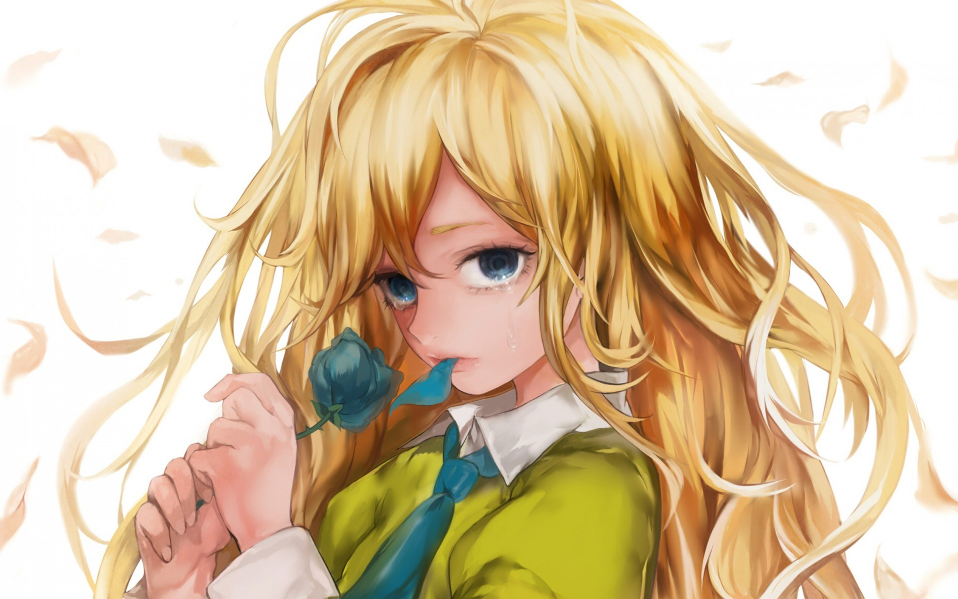 Girl Blonde Rose Art