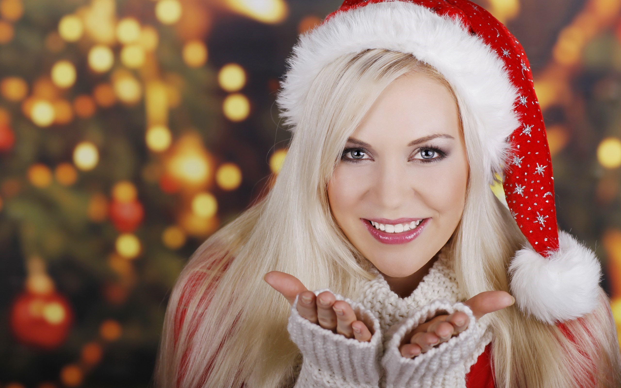Girl Blonde Smile Christmas Tree New Year