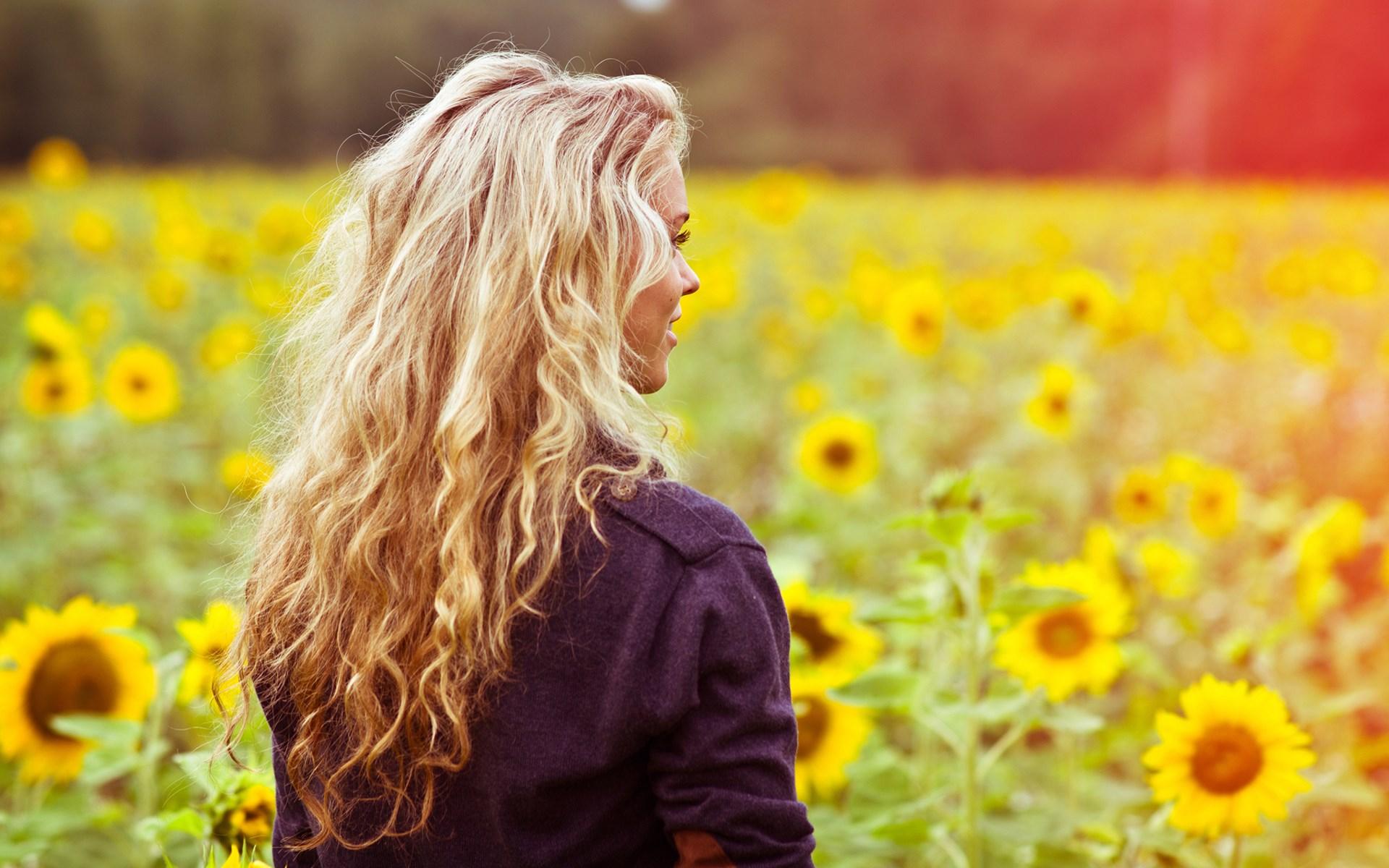 Girl Blonde Smile Field Sunflowers Summer