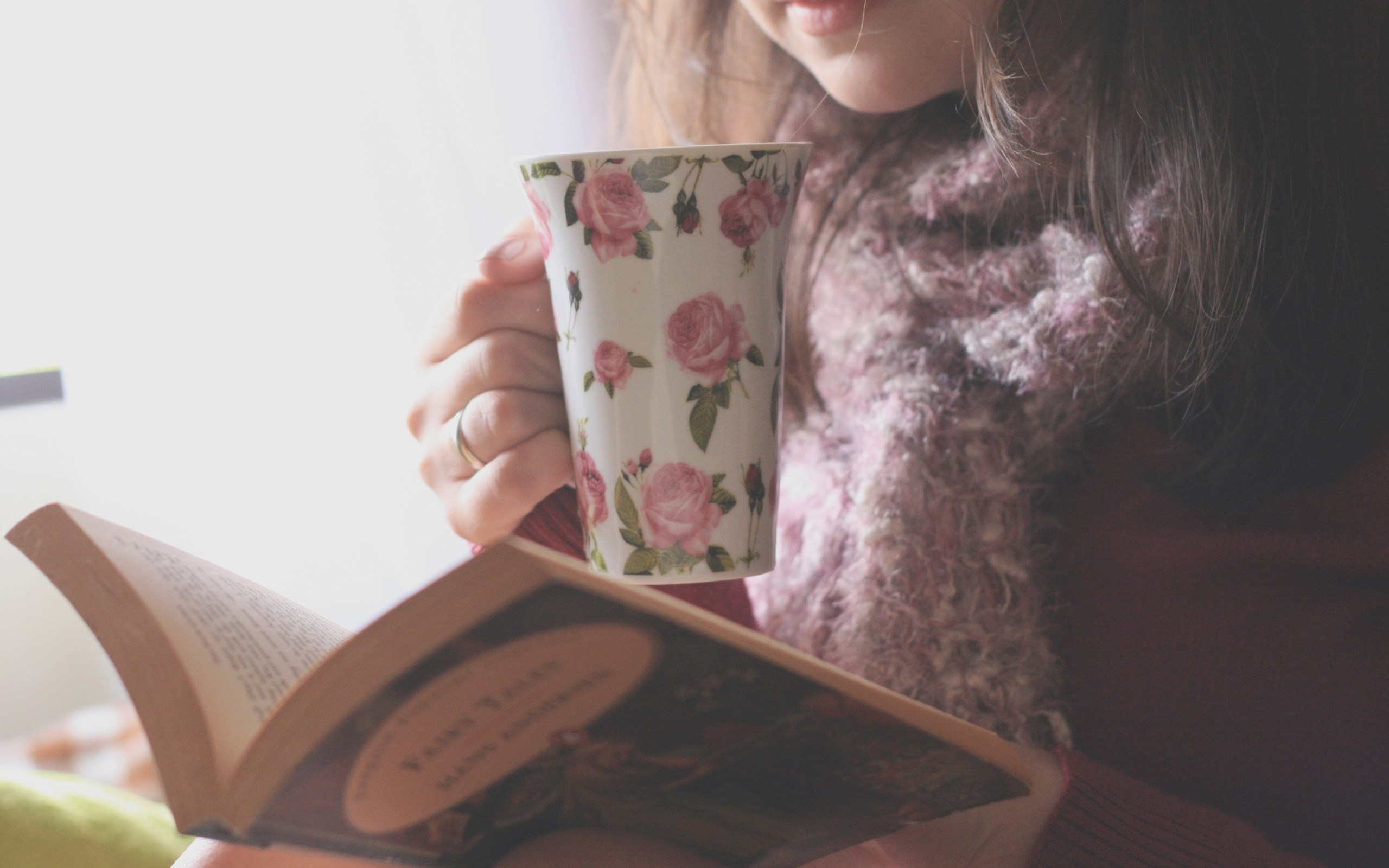 Girl Cup Tea Book Mood