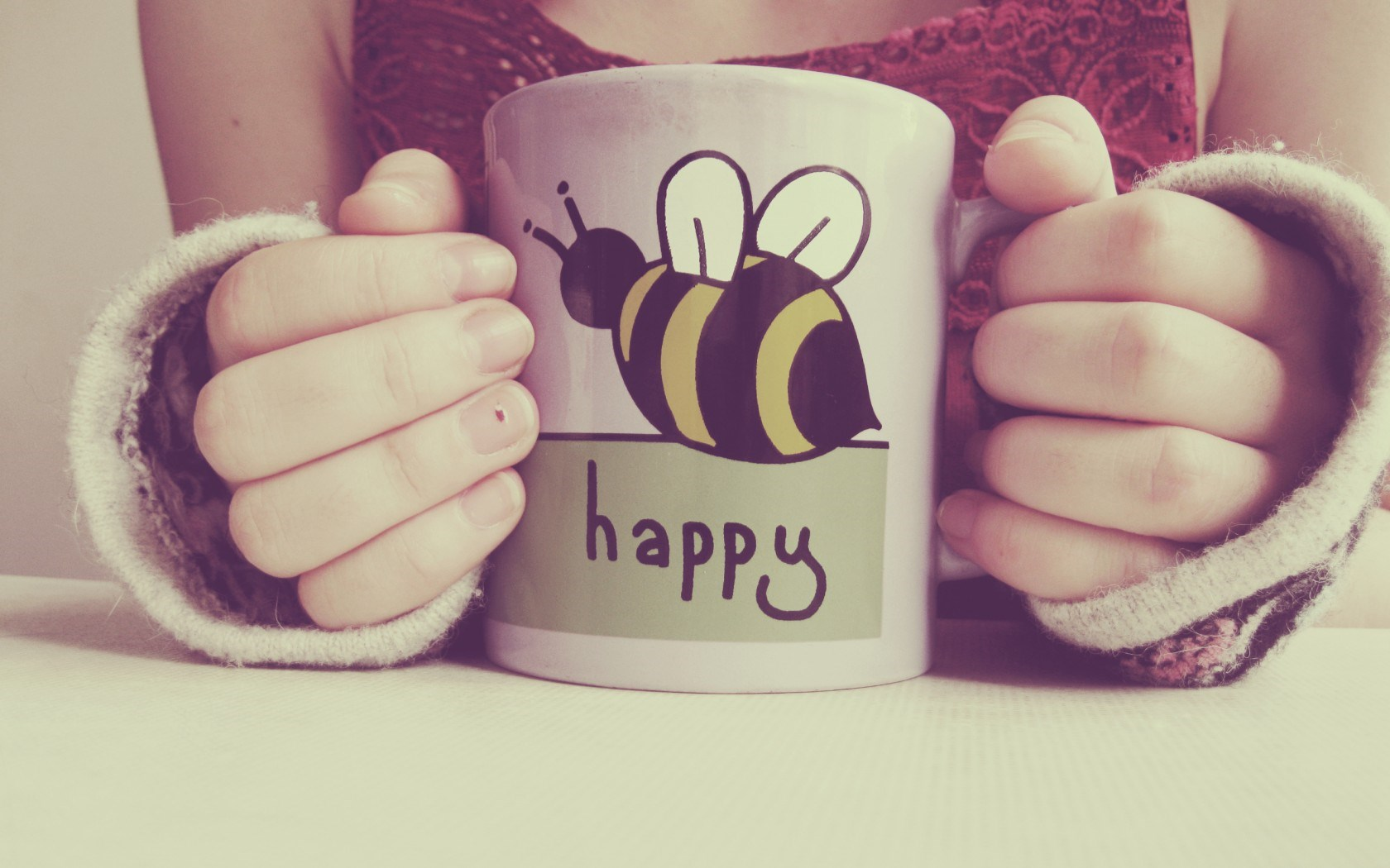 Girl Cup Text Inscription Happy Bee