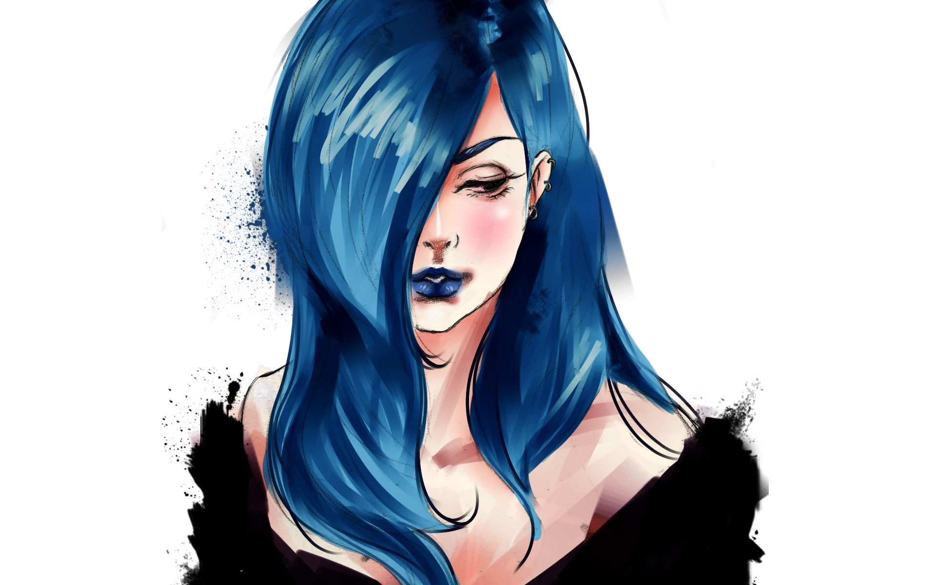 Girl Drawing Blue Hair