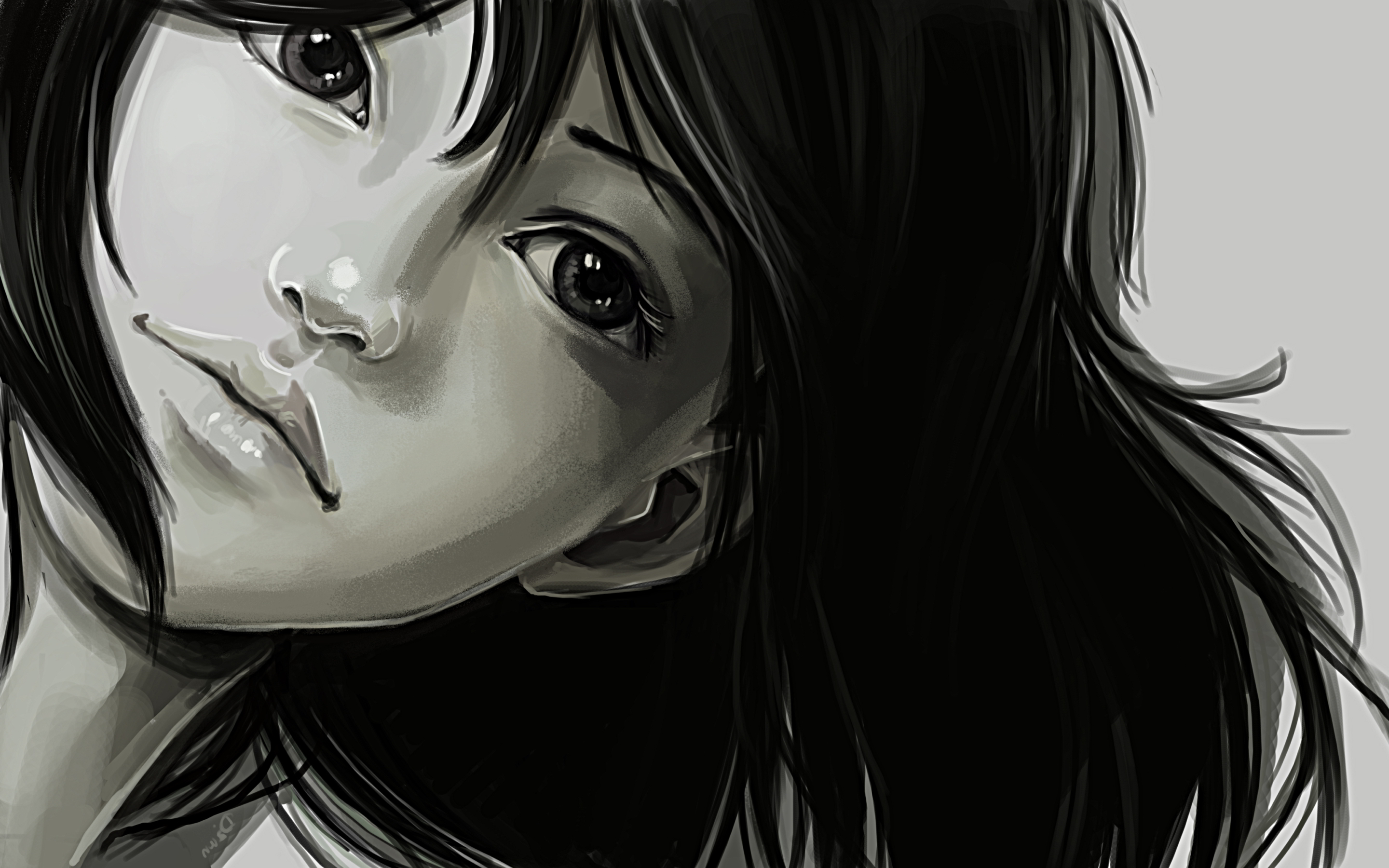 Girl face monochrome art