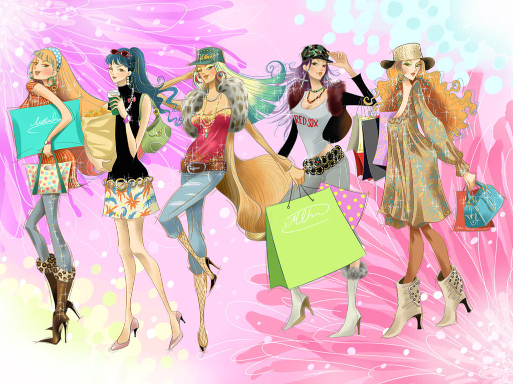 Fashion Girl Cartoon Wallpaper fashion girls wallpapers