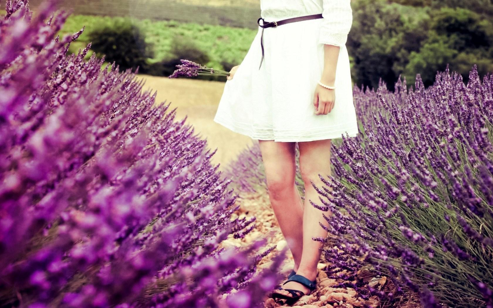 Mood Macro Flowers Lavender Purple Field Girl Legs Dress