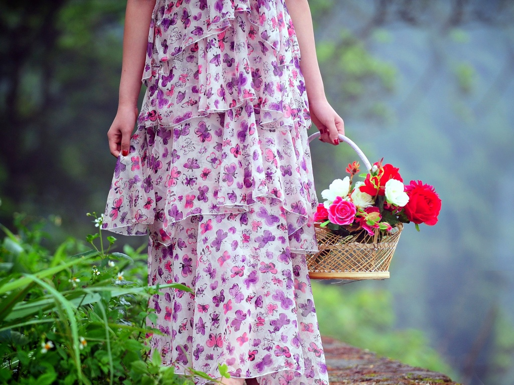 Girl Flower Basket
