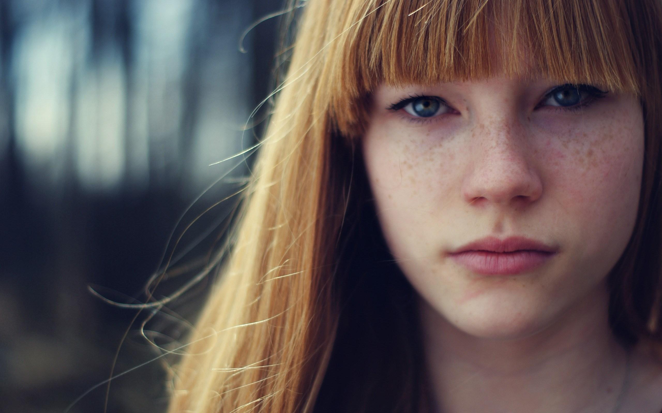 Girl Freckles Grass