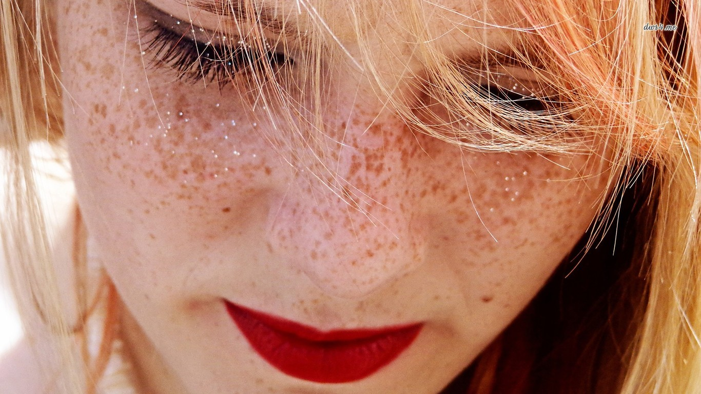 Girl Freckles Red Lips