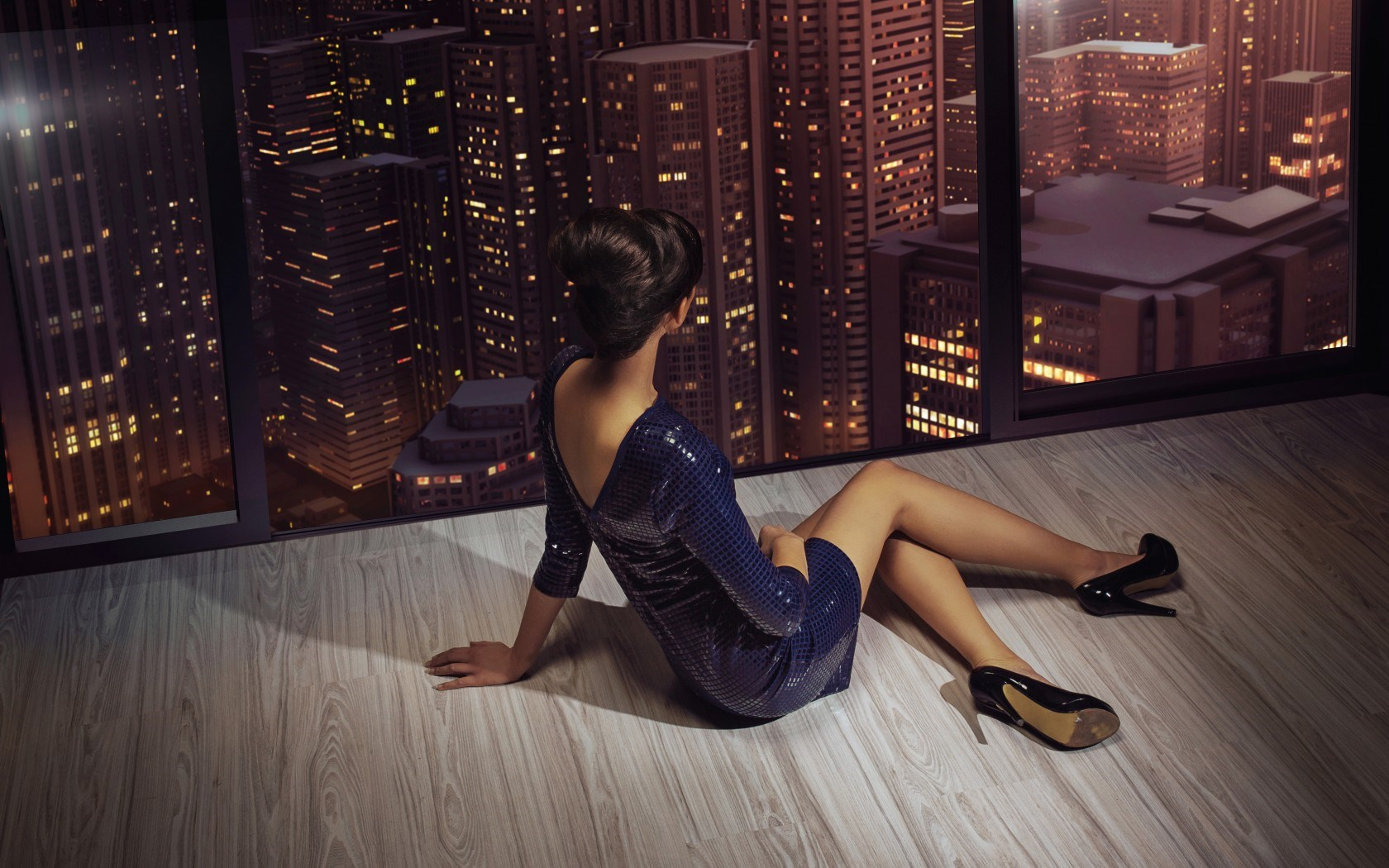 Girl Heels Dress Hairstyle Fashion Window City