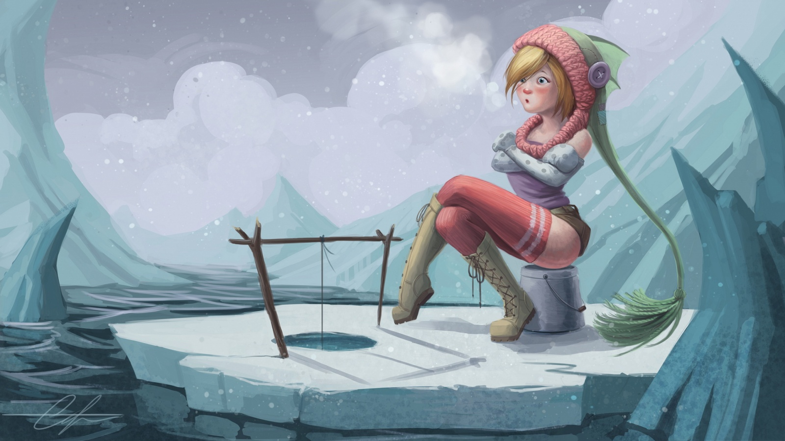 Girl ice fishing