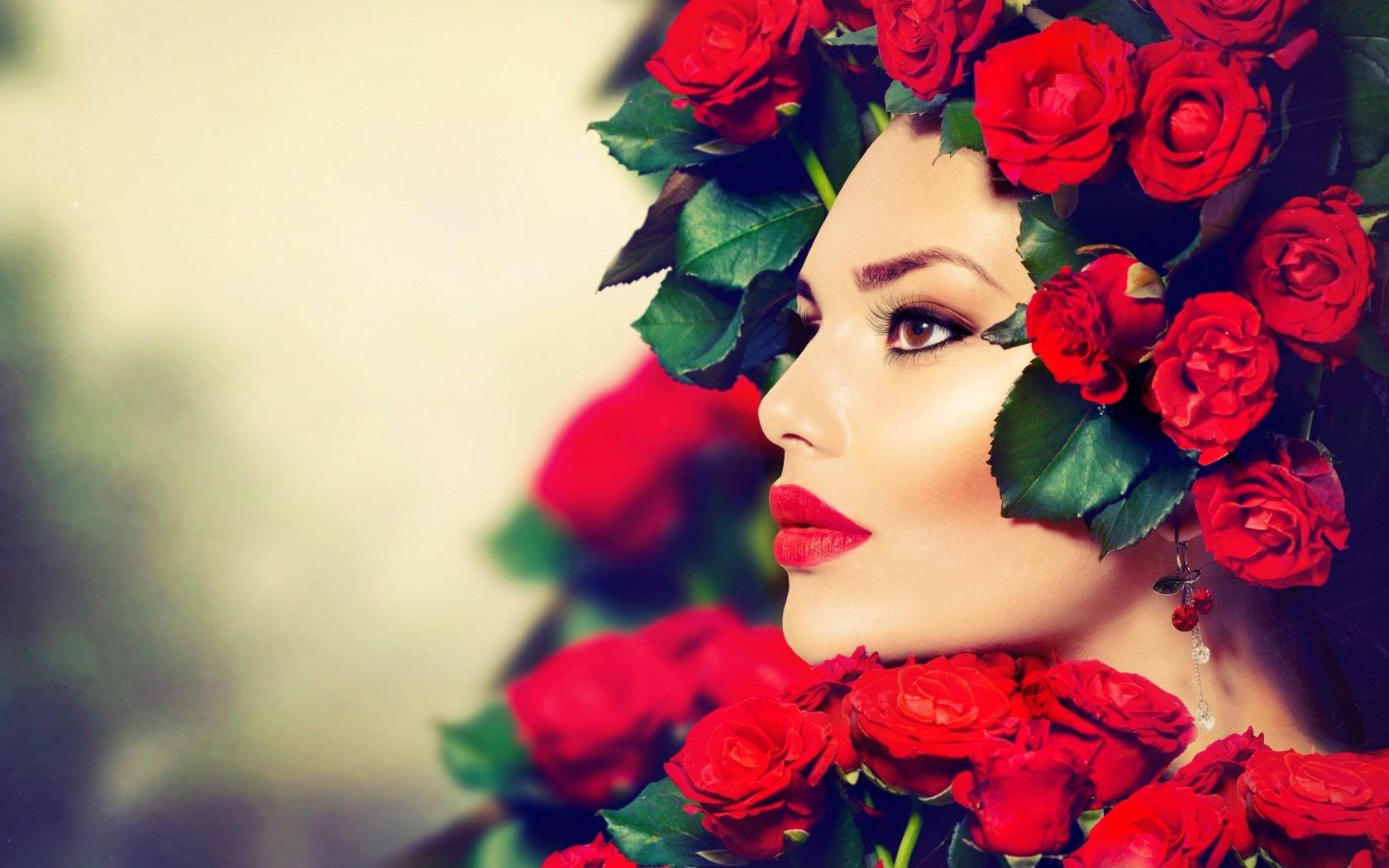 Girl Look Makeup Red Lips Roses