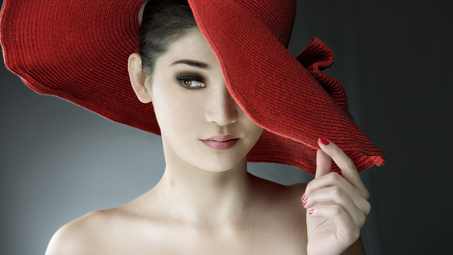 Fashion Red Hat Brunette Model Girl Portrait