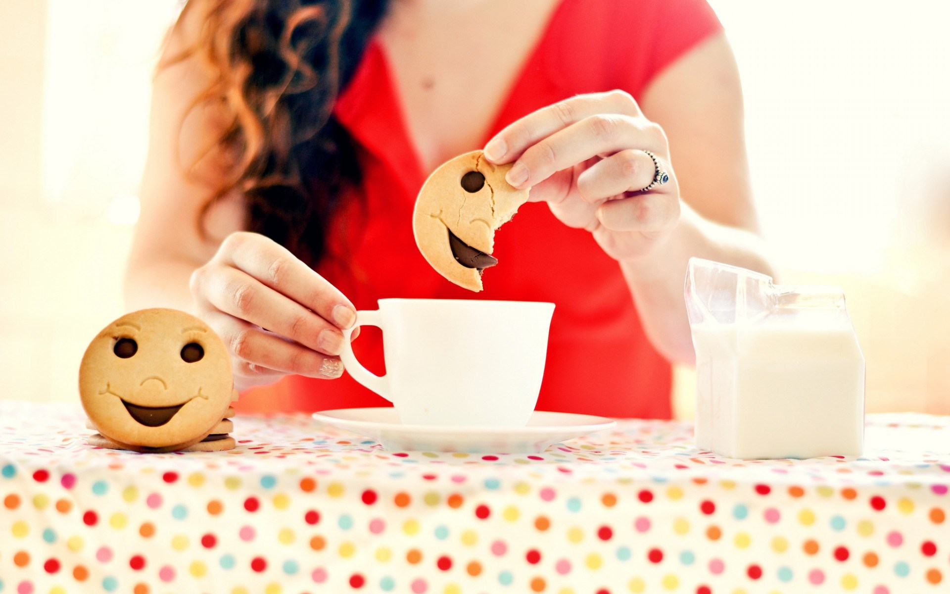 Girl Mug Cup Tea Cookies Smile Morning Mood