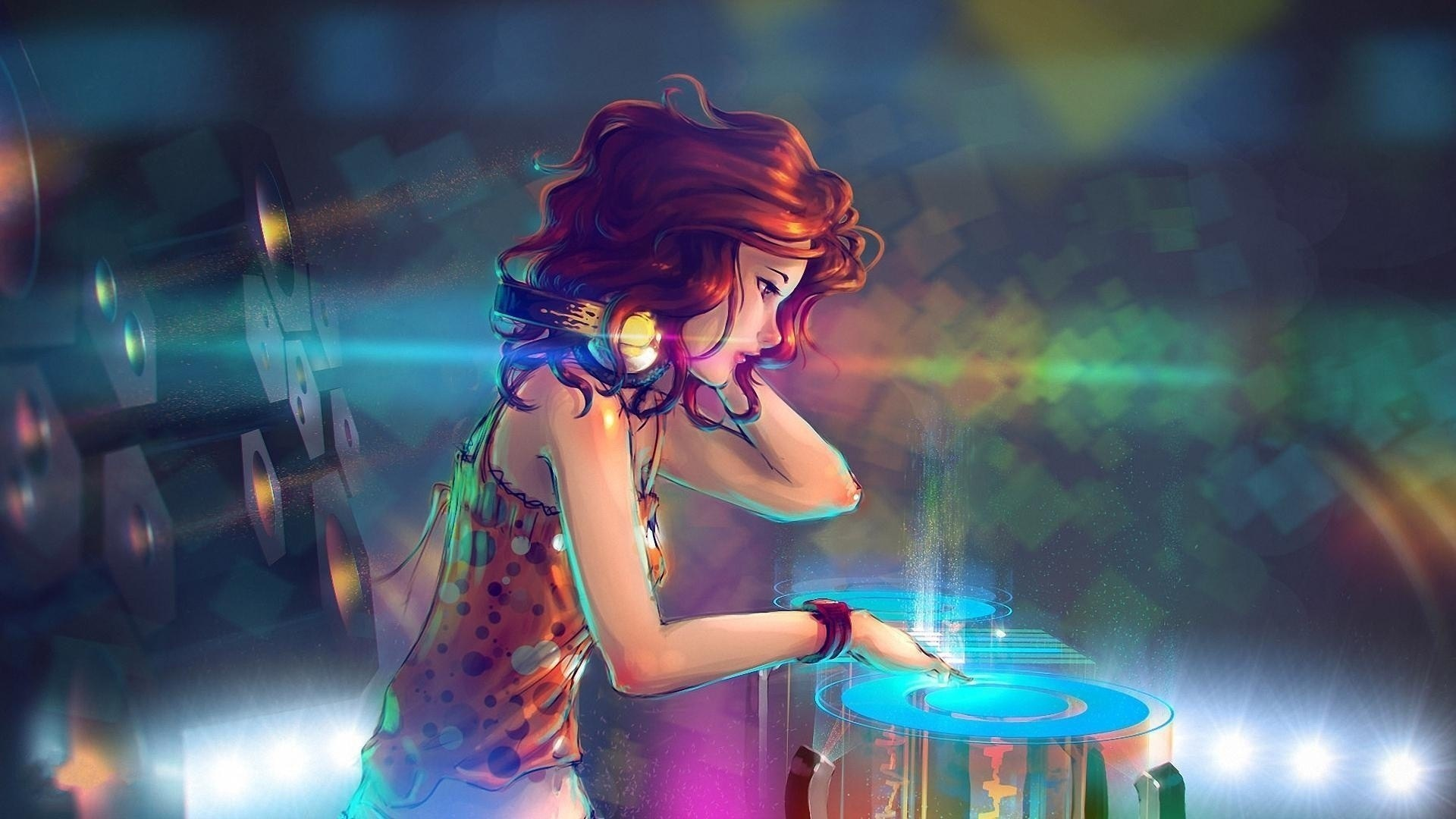 Anime Girl Headphones Mixing In The Club Music