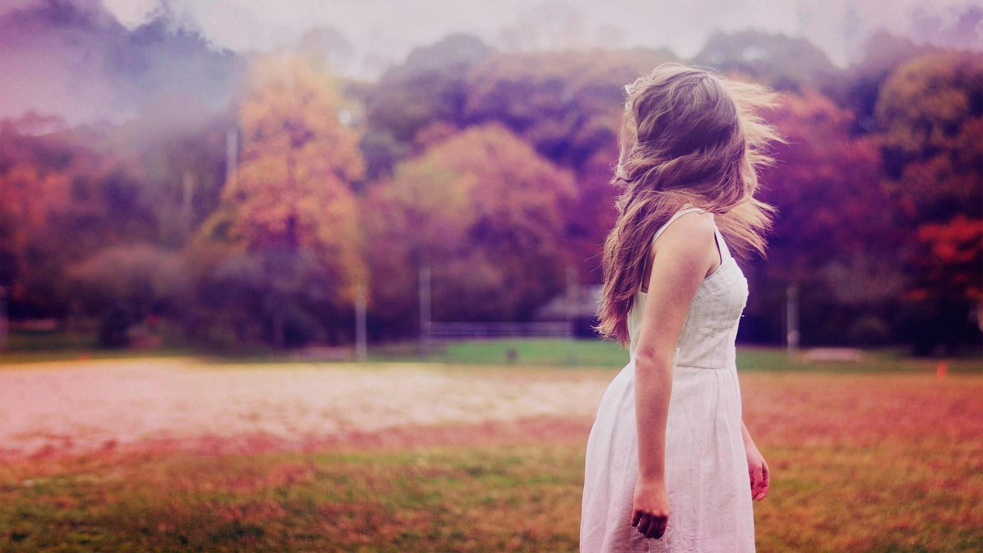 Girl Dress Nature Autumn Photo