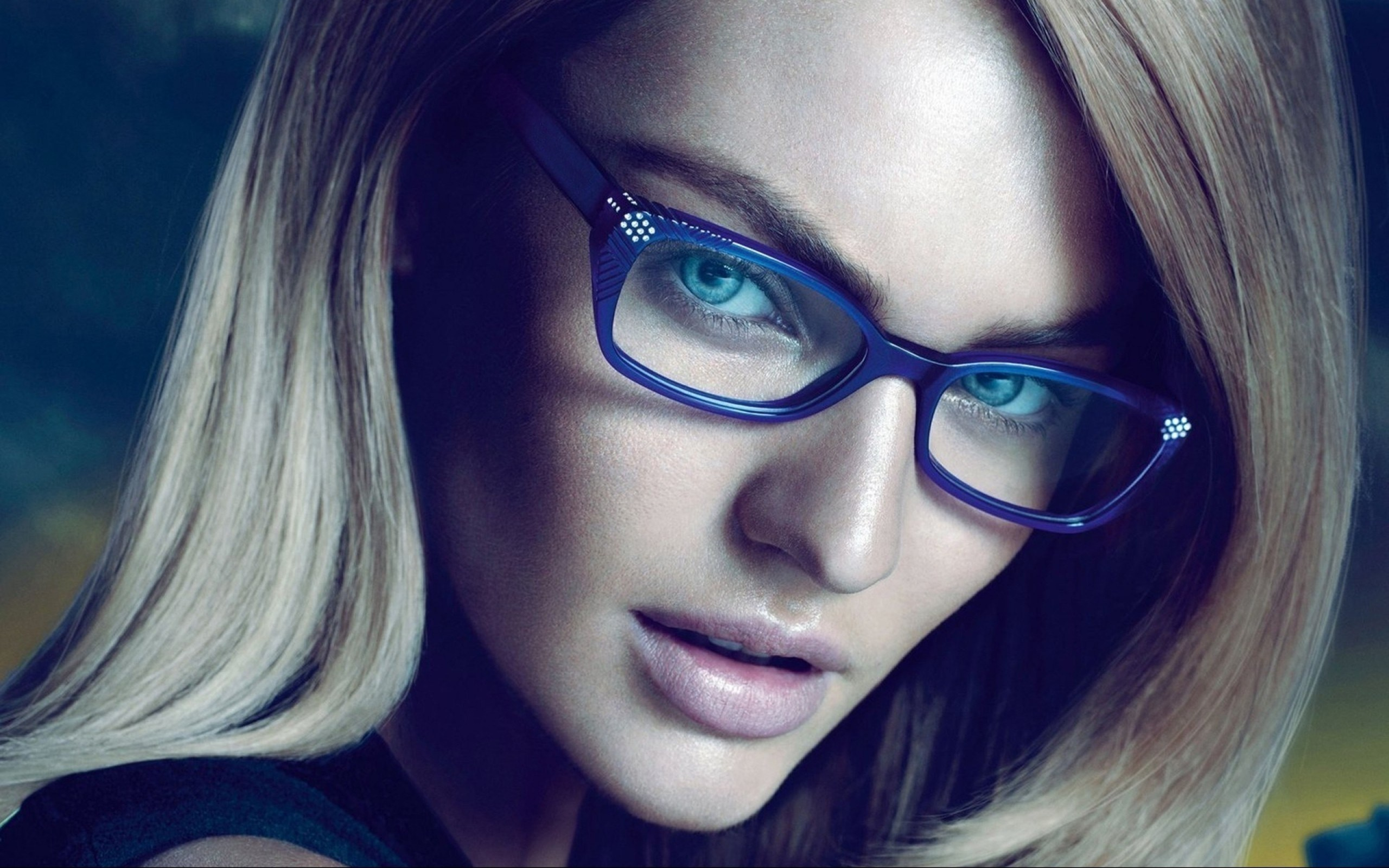 Blonde Girl Candice Swanepoel Portrait Glasses Photo