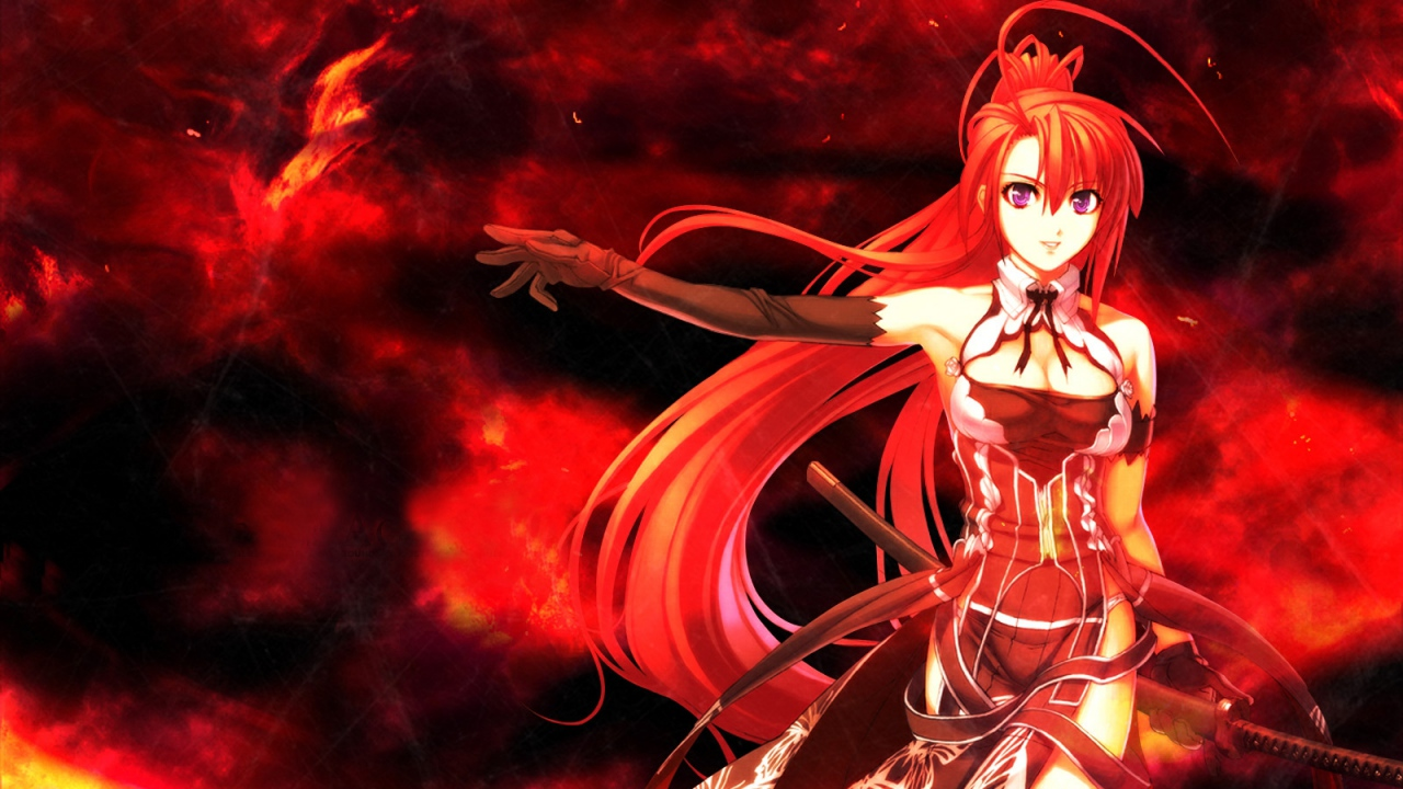 1280x720 Wallpaper anime, girl, red, hair, sword, background