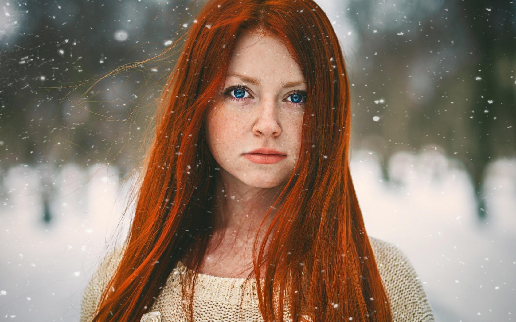 Girl Redhead Blue Eyes Winter
