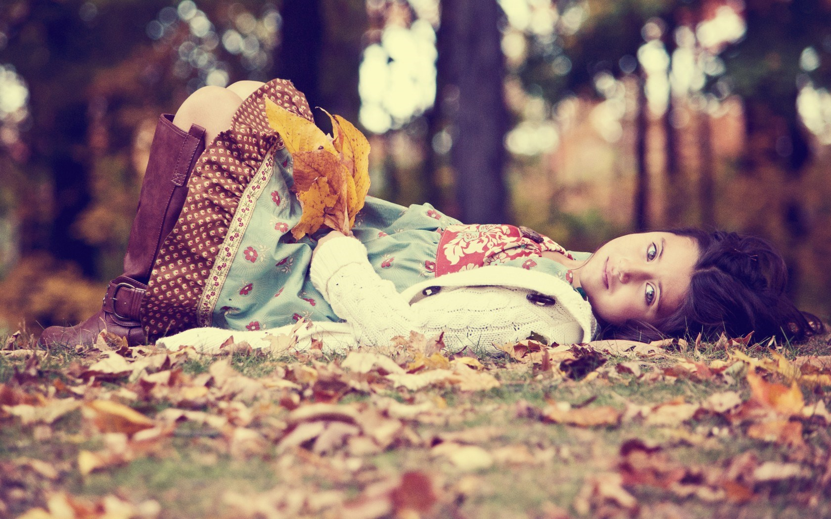 Mood Child Girl Dress Boots Nature Leaves Photo