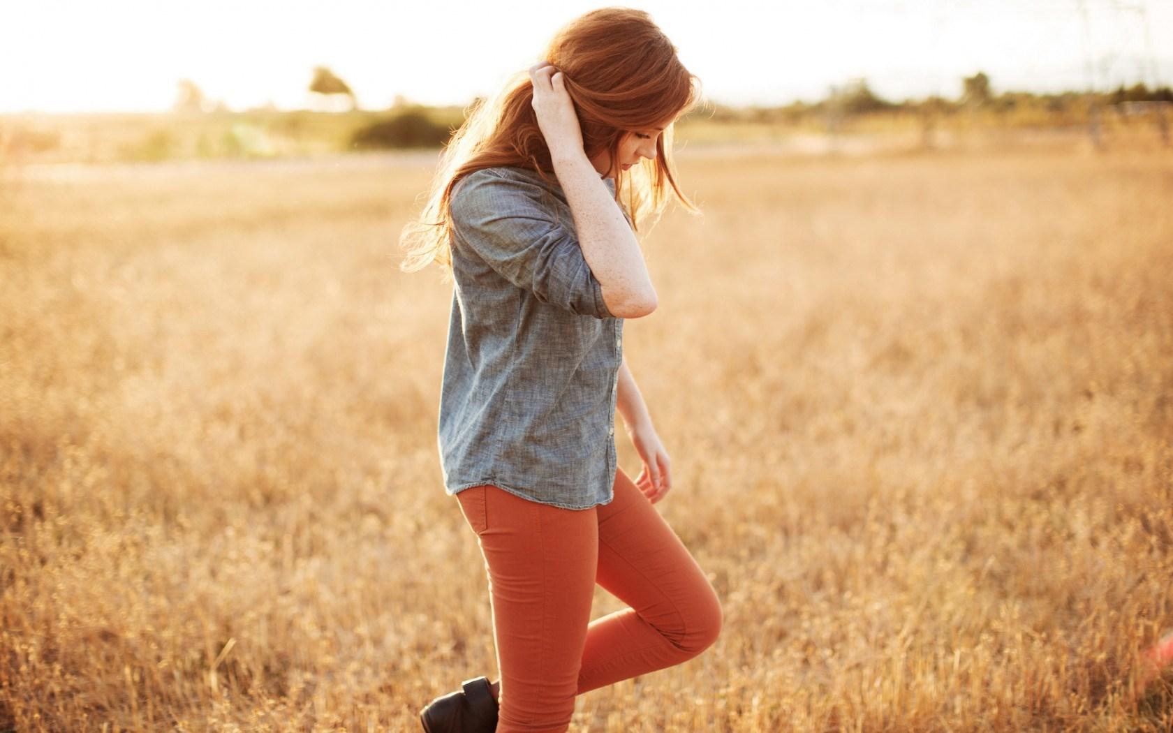 Girl Redhead Summer Field Mood