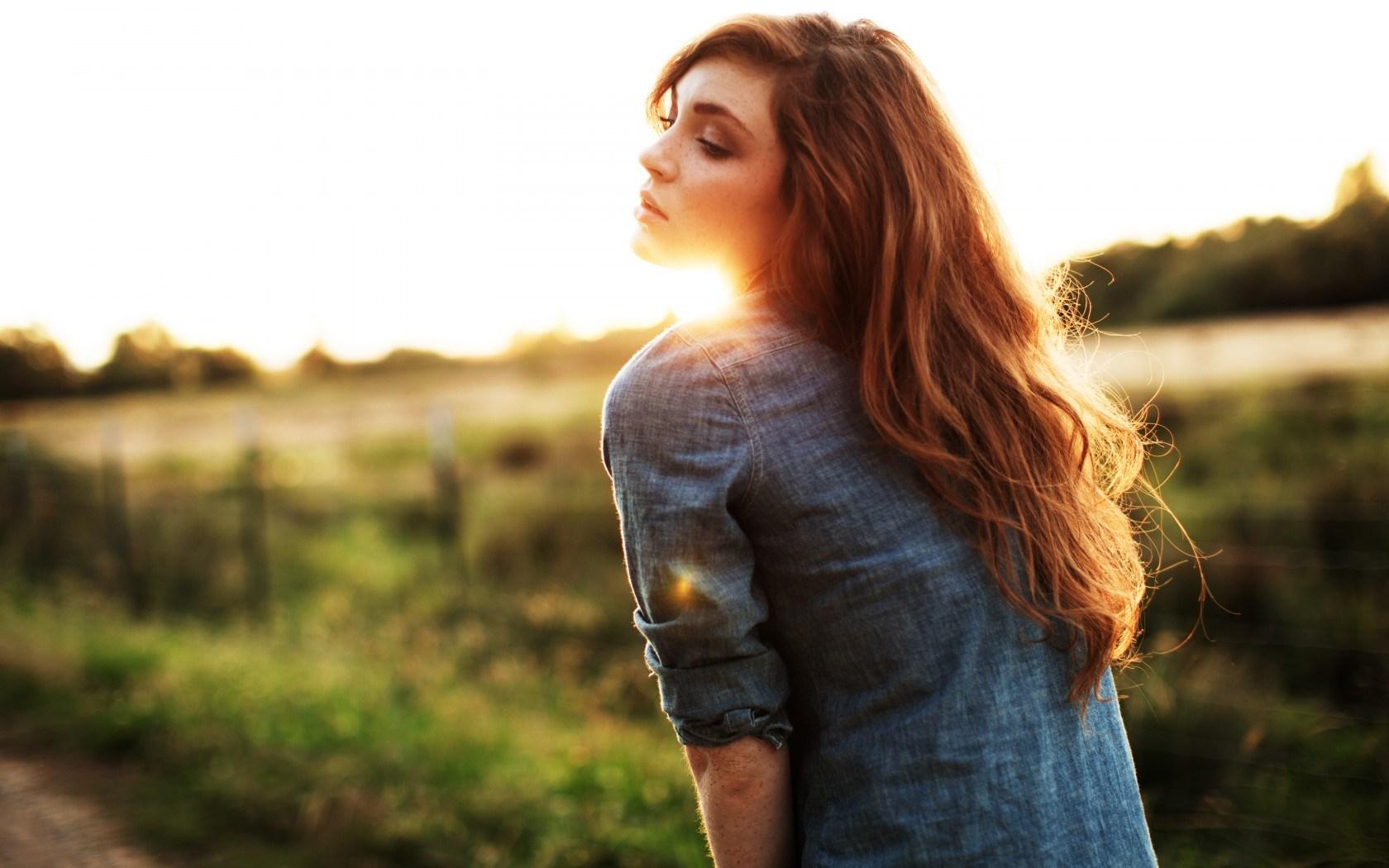 Girl Redhead Sun Bokeh