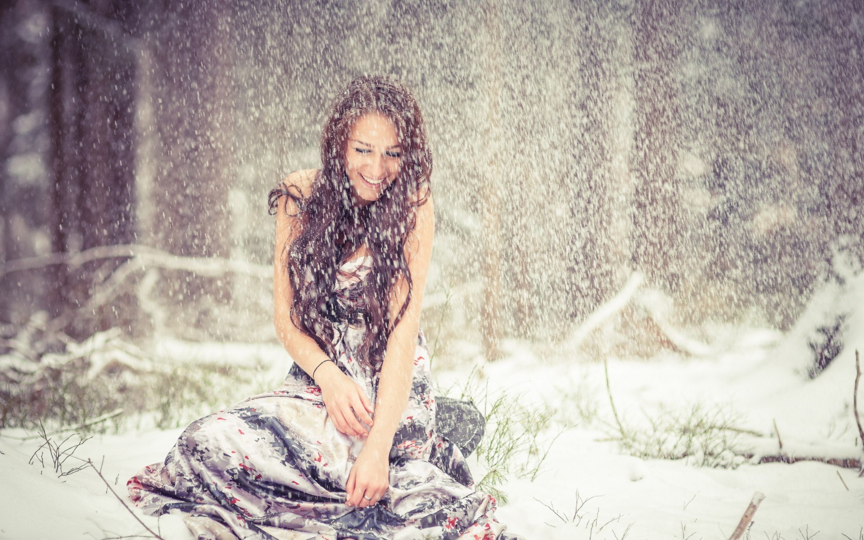 Girl Winter Snow Snowflakes