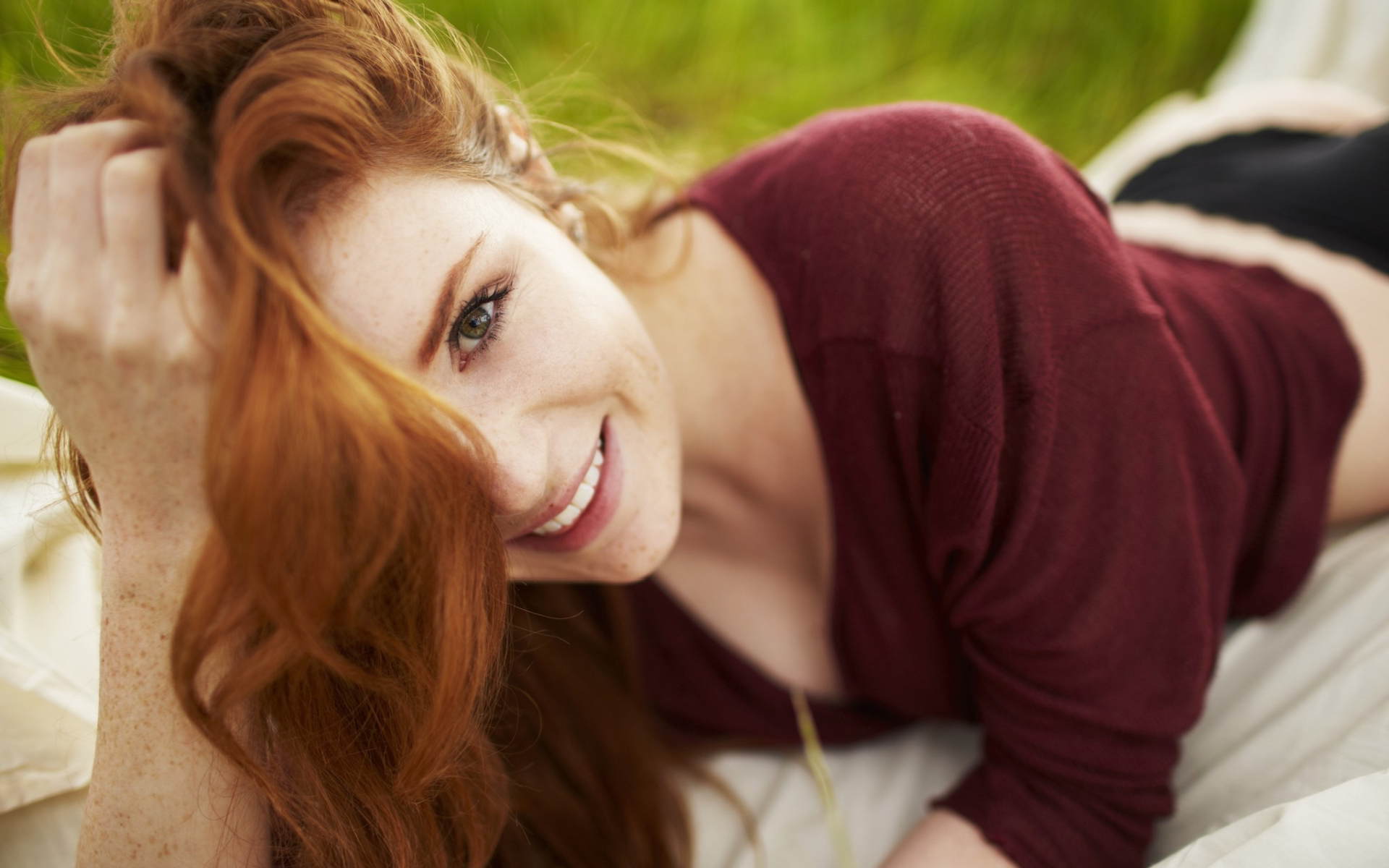 Freckled redhead girl smile