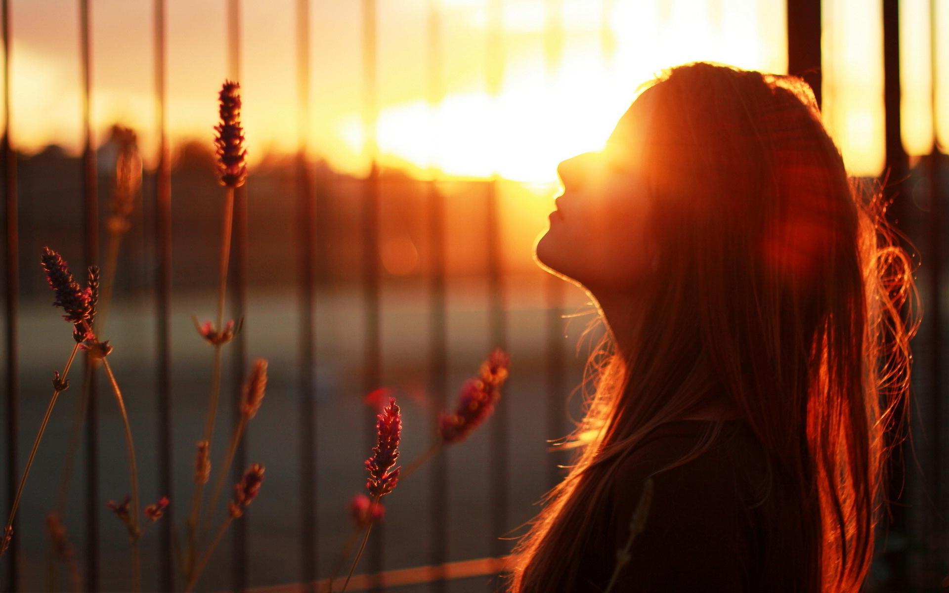 Girl sunset mood