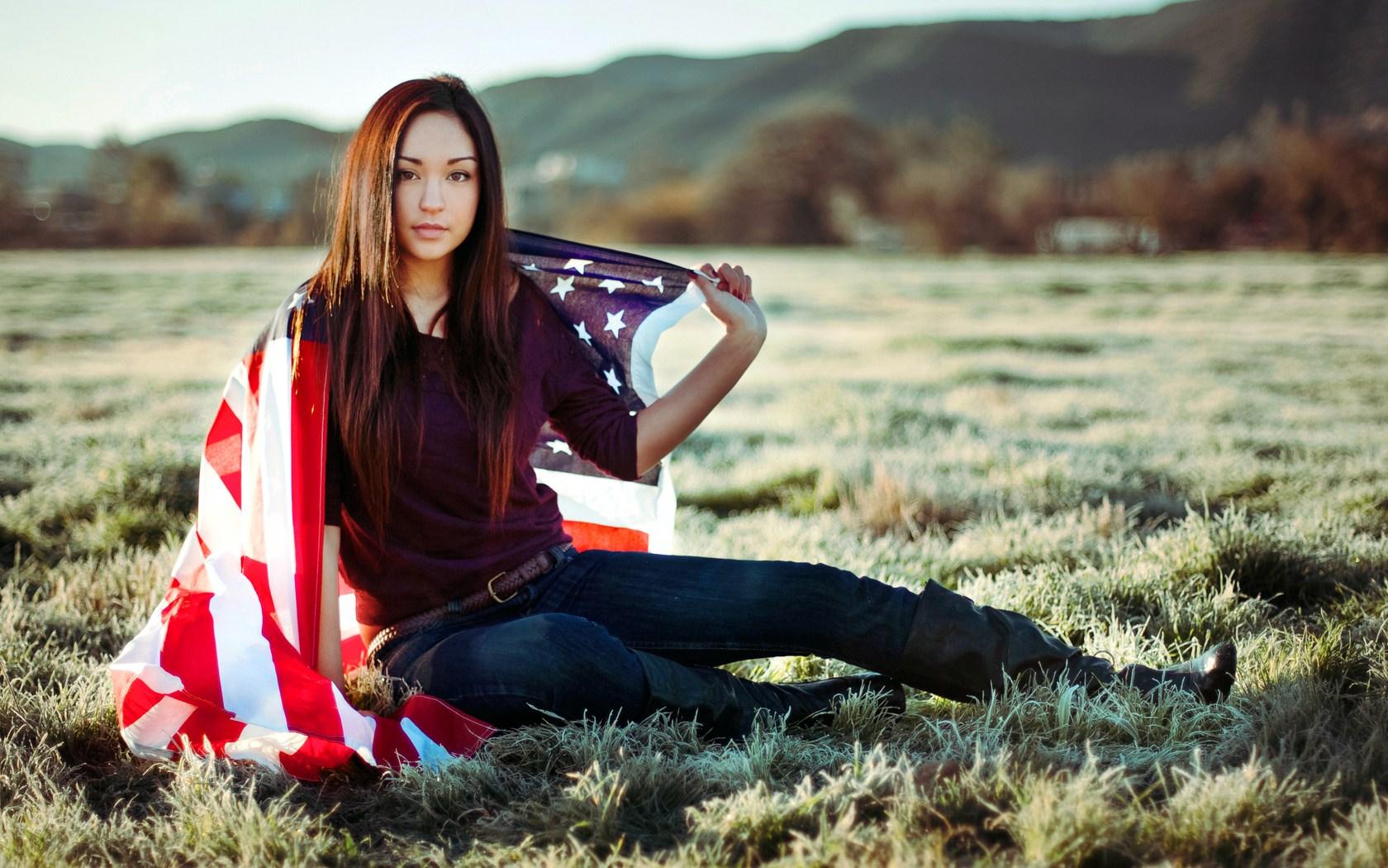 Beautiful Girl US Flag Wallpaper