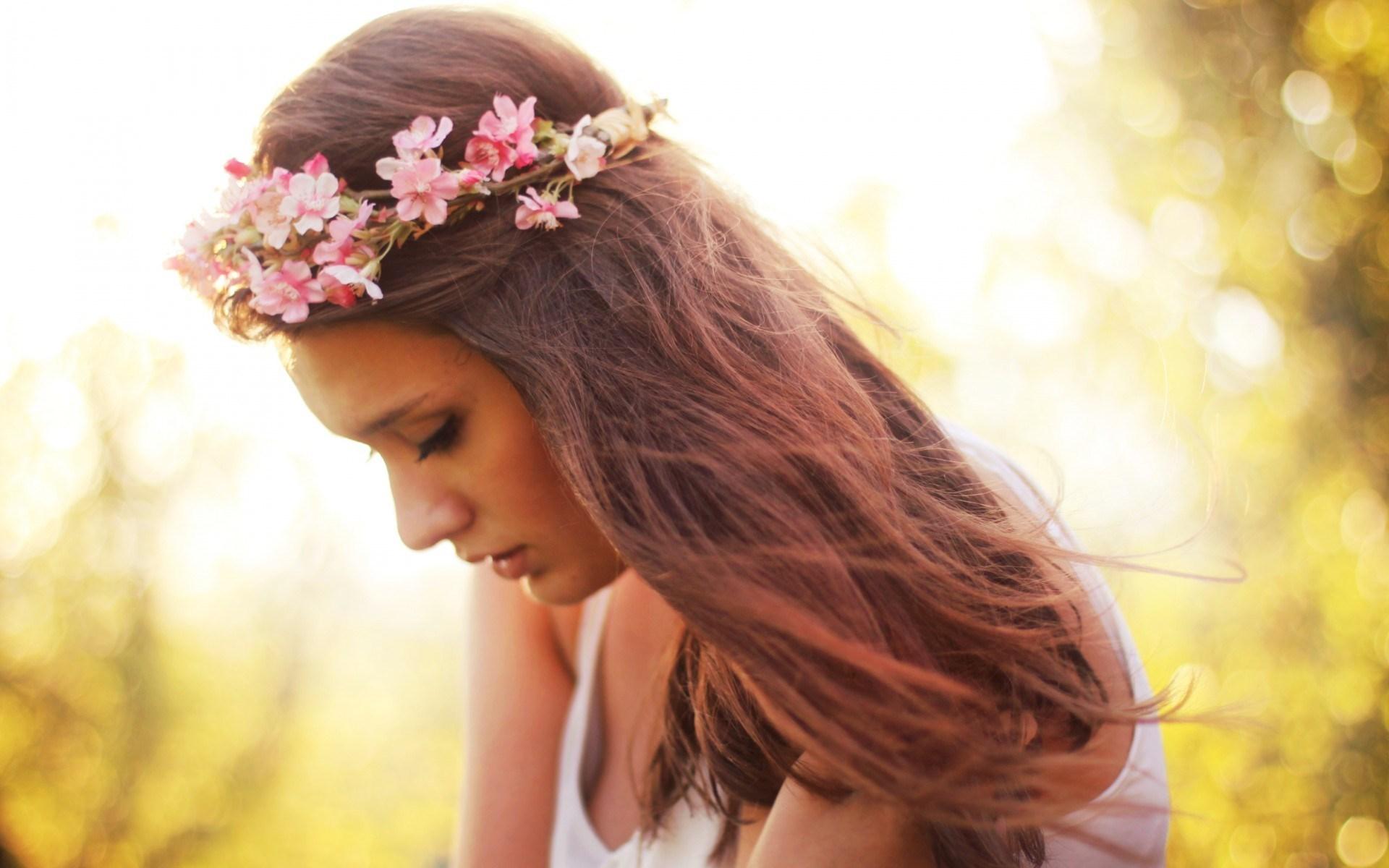 Girl Wreath Flowers Portrait