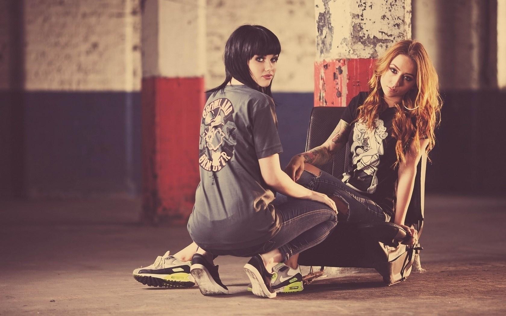 Girls Blonde Brunette Warehouse Photo