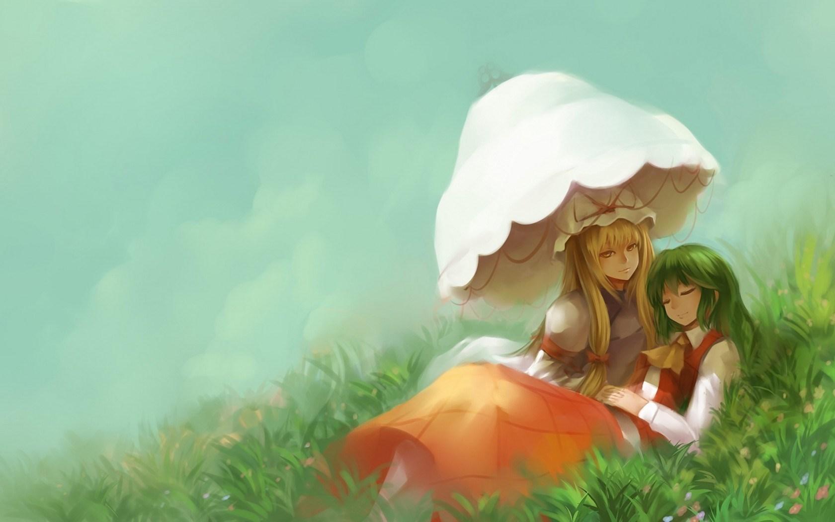 Girls Grass Umbrella Art Anime