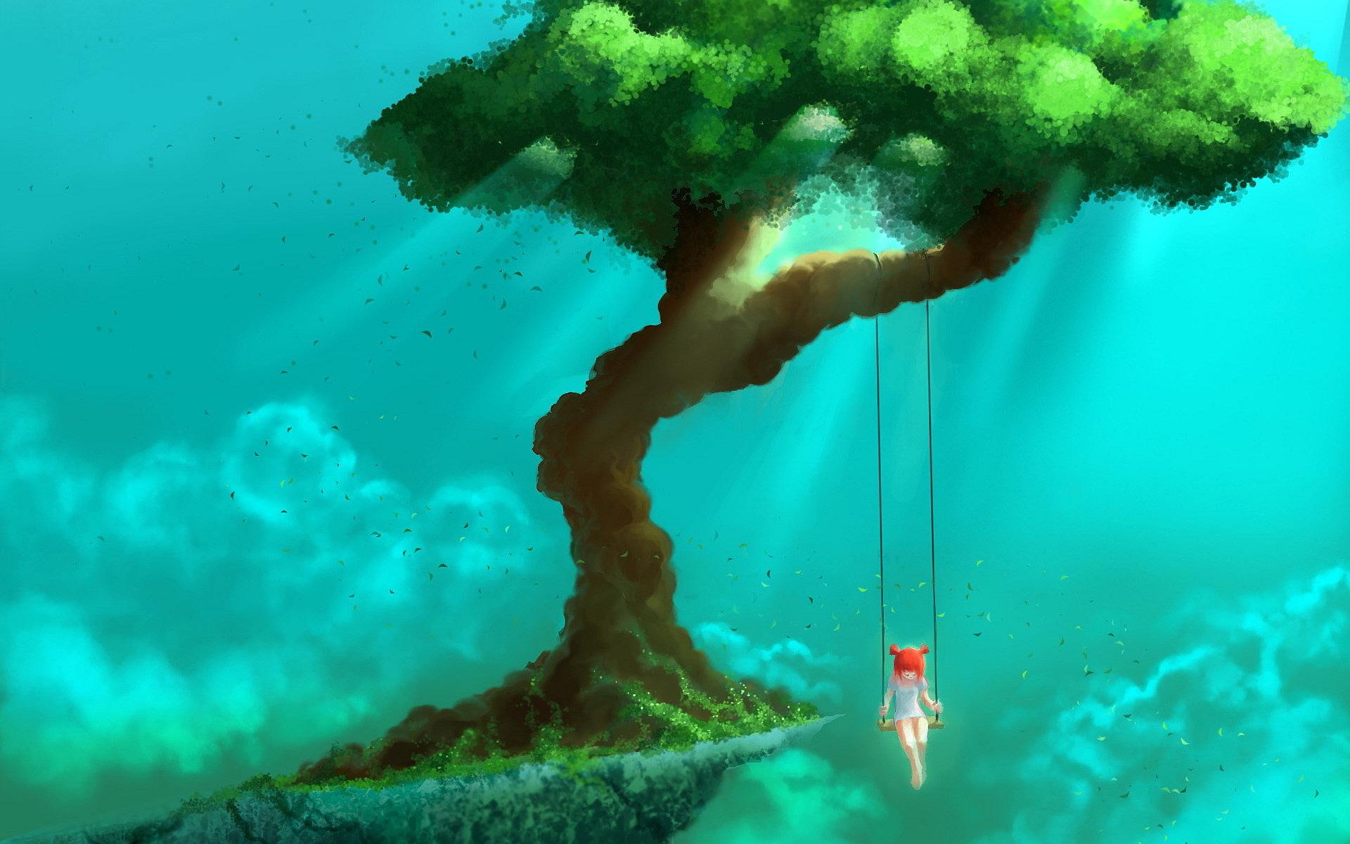 Girls swings sky