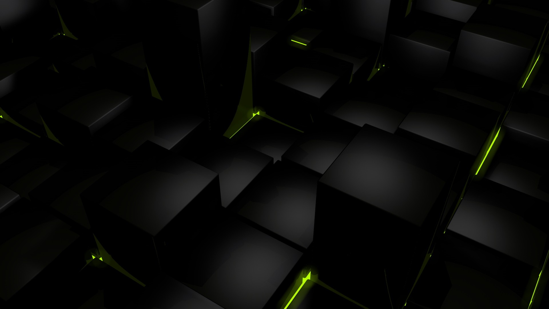 dark cubes glow computer graphics wallpaper