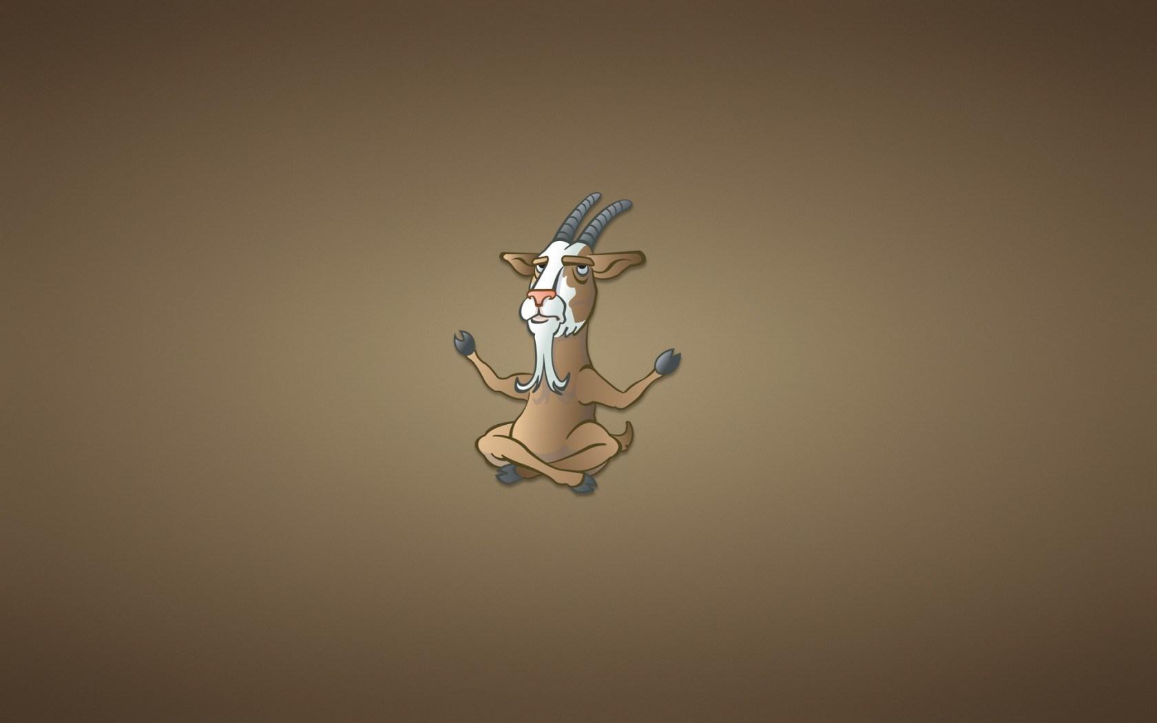 Goat Buddha Minimalism Cartoon Funny