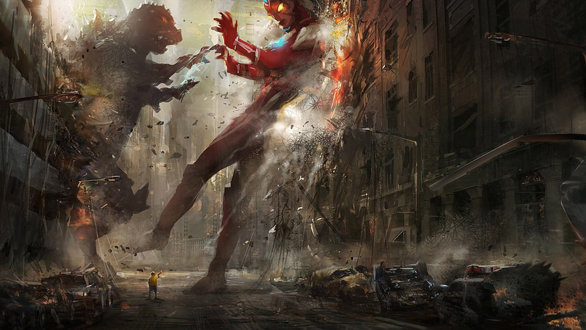 Iron Man vs Godzilla wallpaper