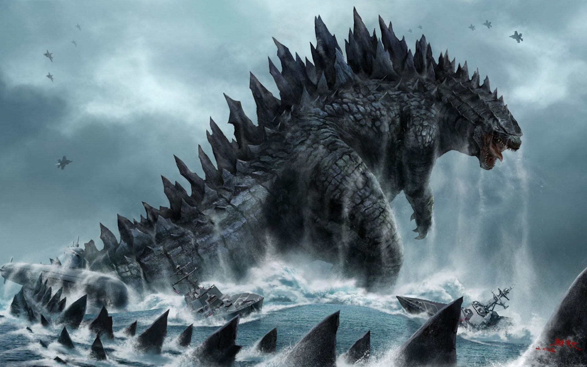 awesome godzilla high resolution wallpaper