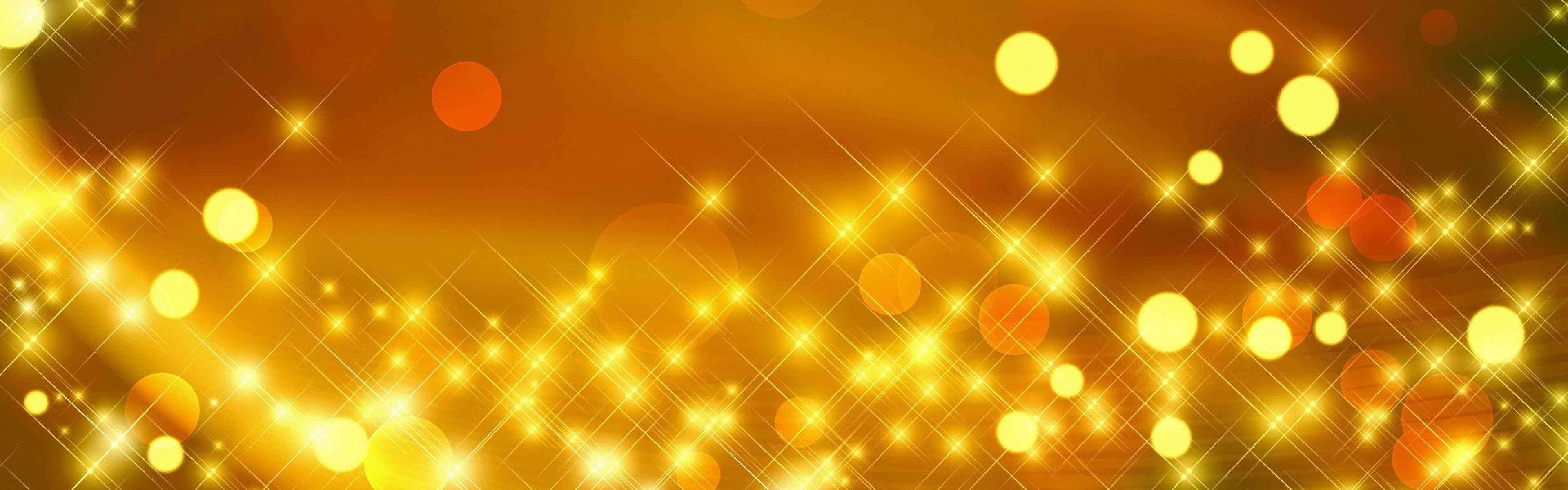Preview wallpaper glare, gold, shiny, bright, circles 3840x1200