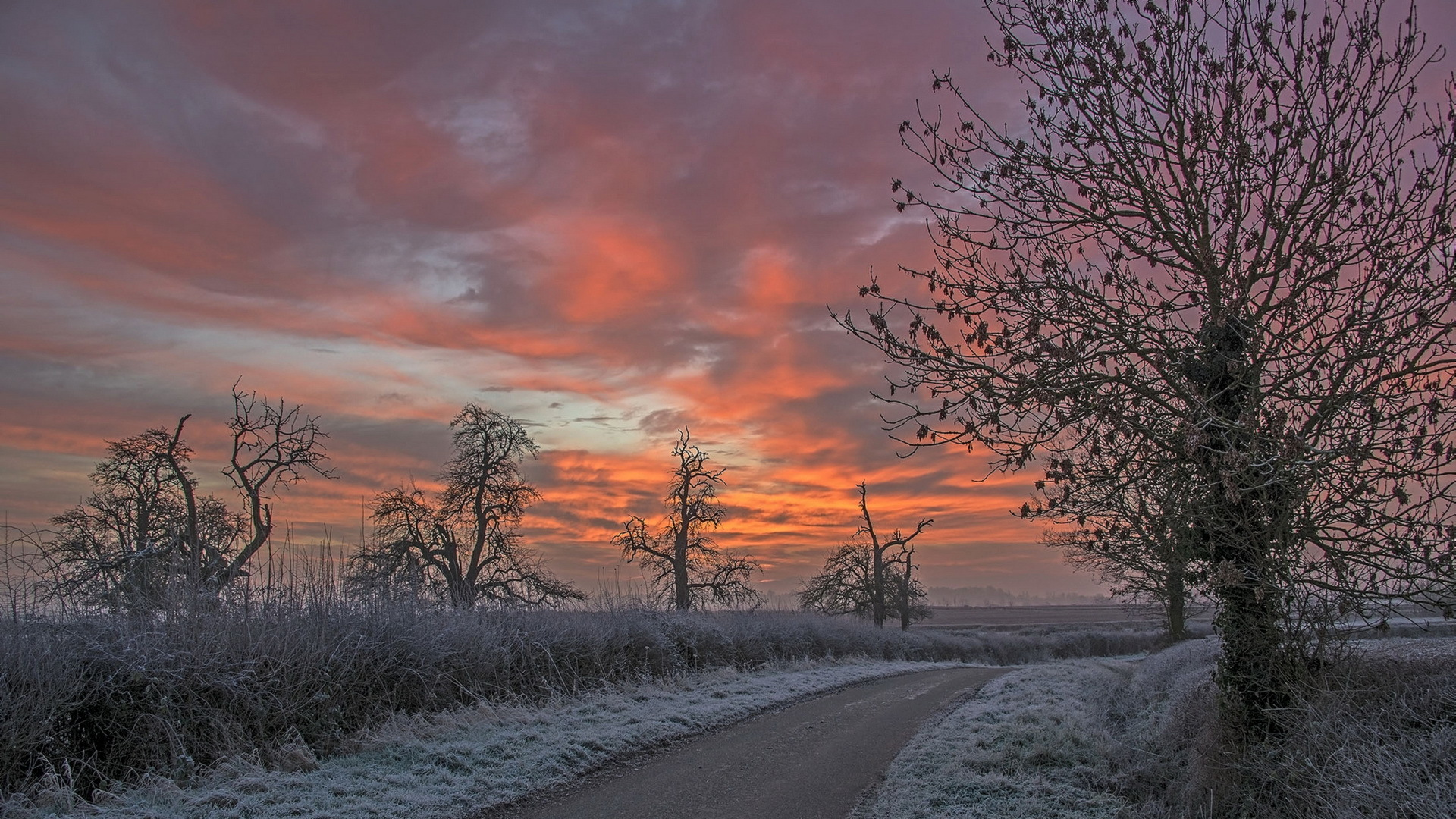 Frosty Road At A Beautiful Sunset HD Desktop Background wallpaper