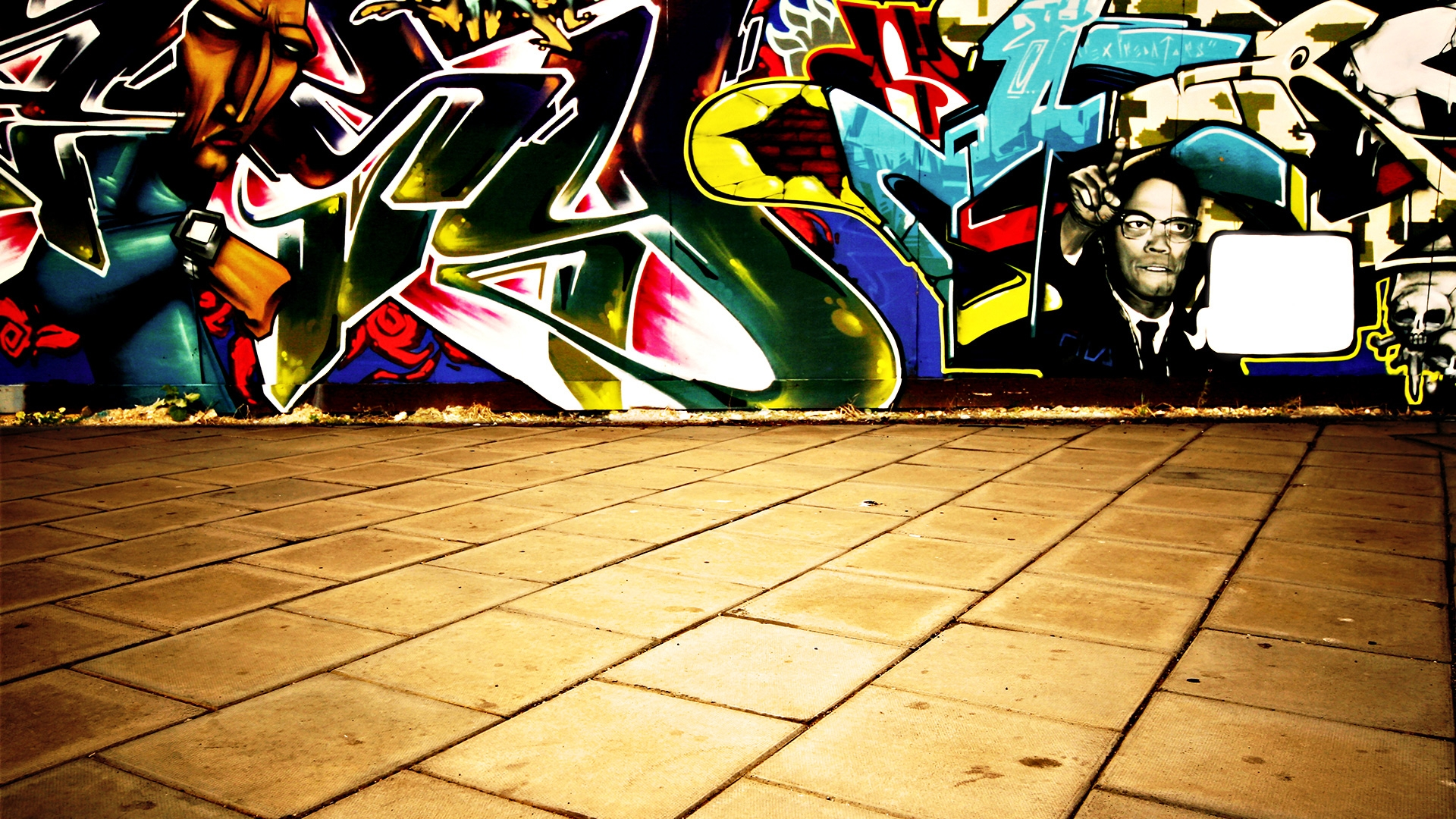 Preview wallpaper wall, graffiti, colorful, tiles 1920x1080
