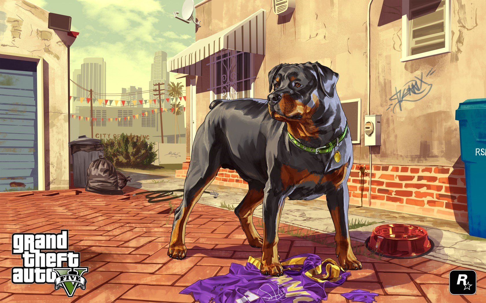 Grand Theft Auto V GTA5 Dog Artwork Game