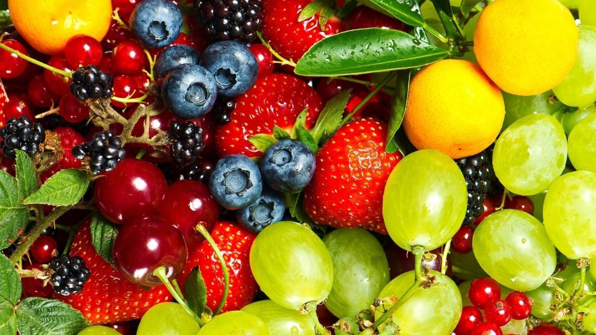 Fruits food cherries grapes strawberries berries blueberries wallpaper