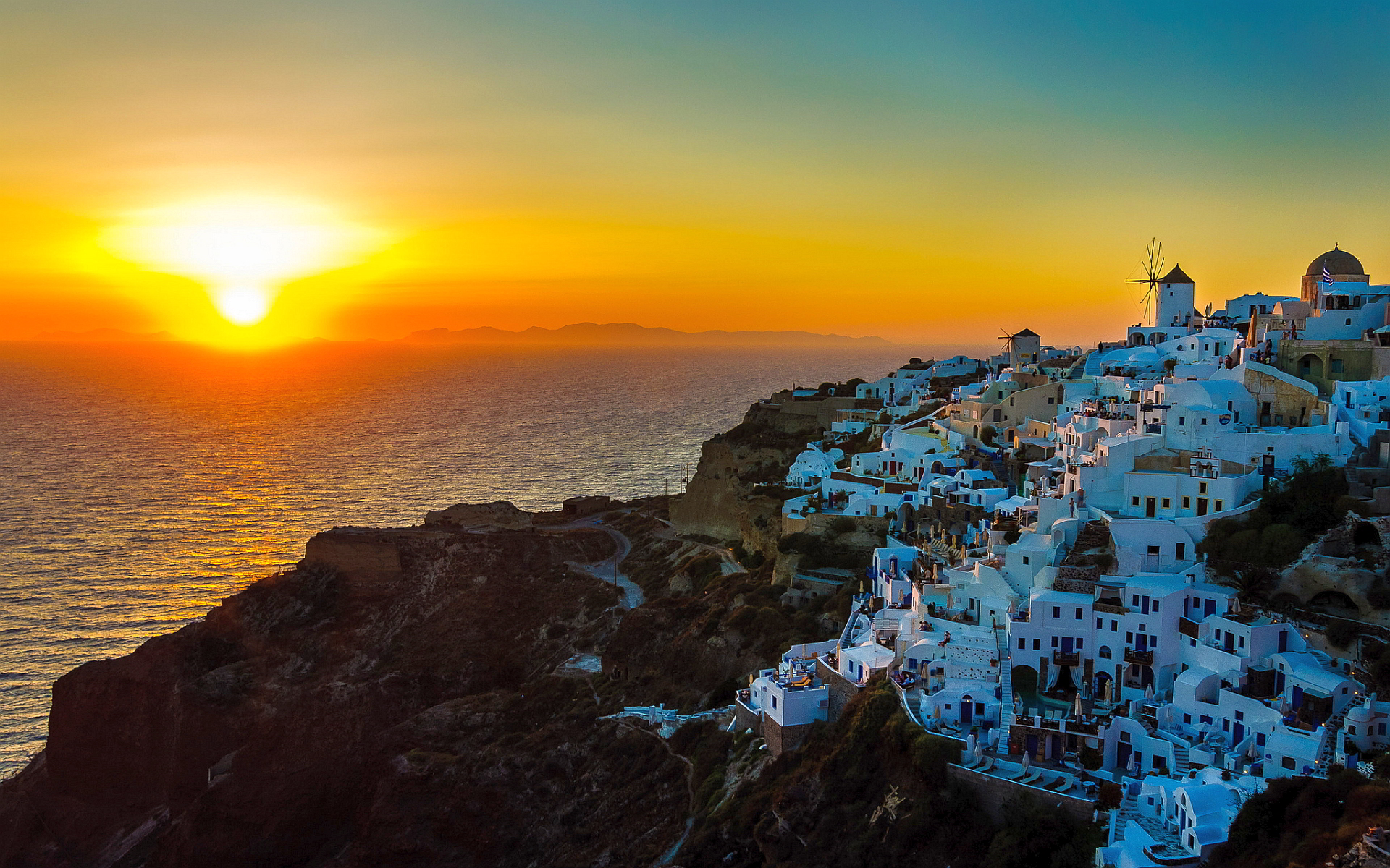 Sunset oia santorini greece