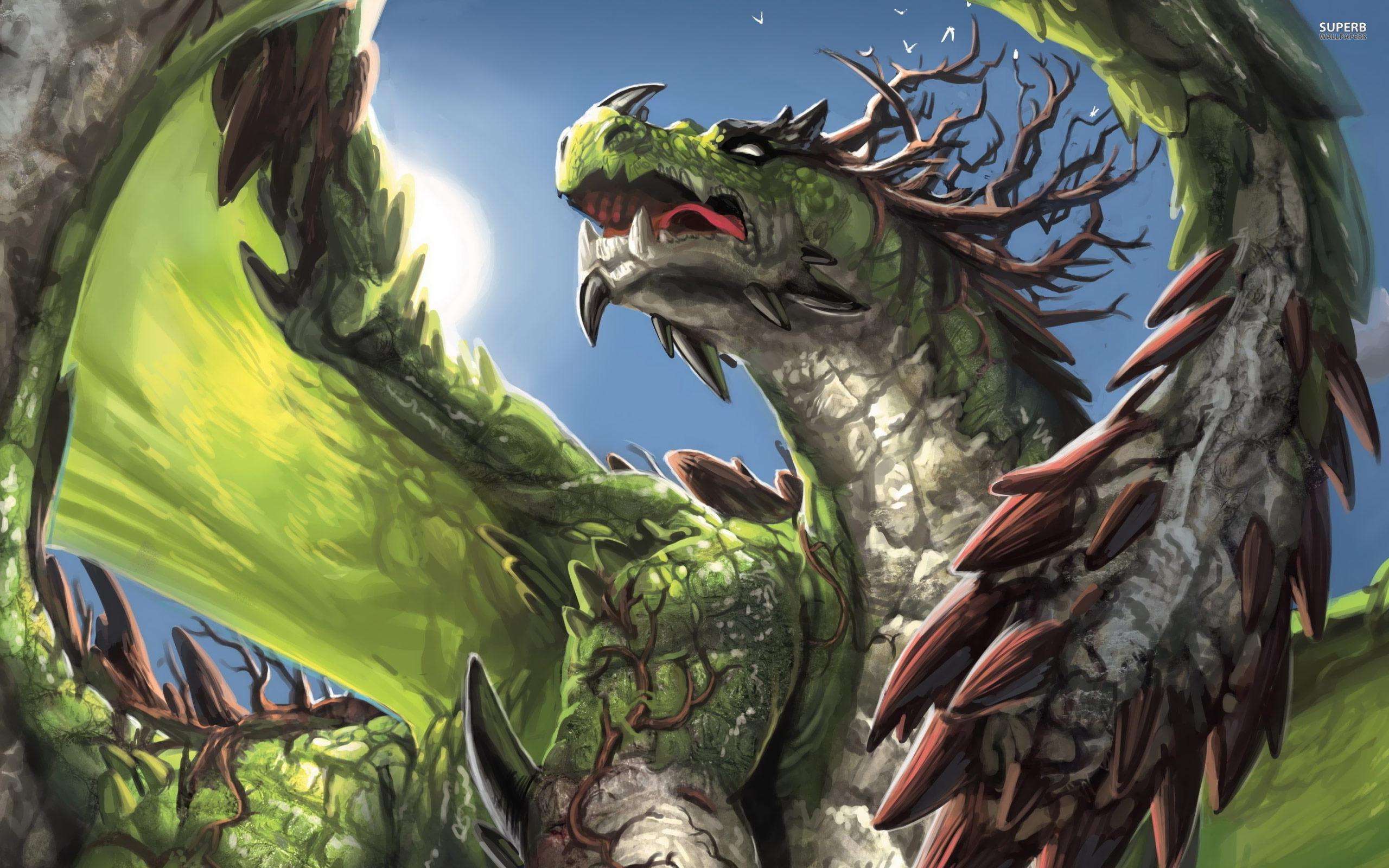 Green dragon wallpaper 2560x1600