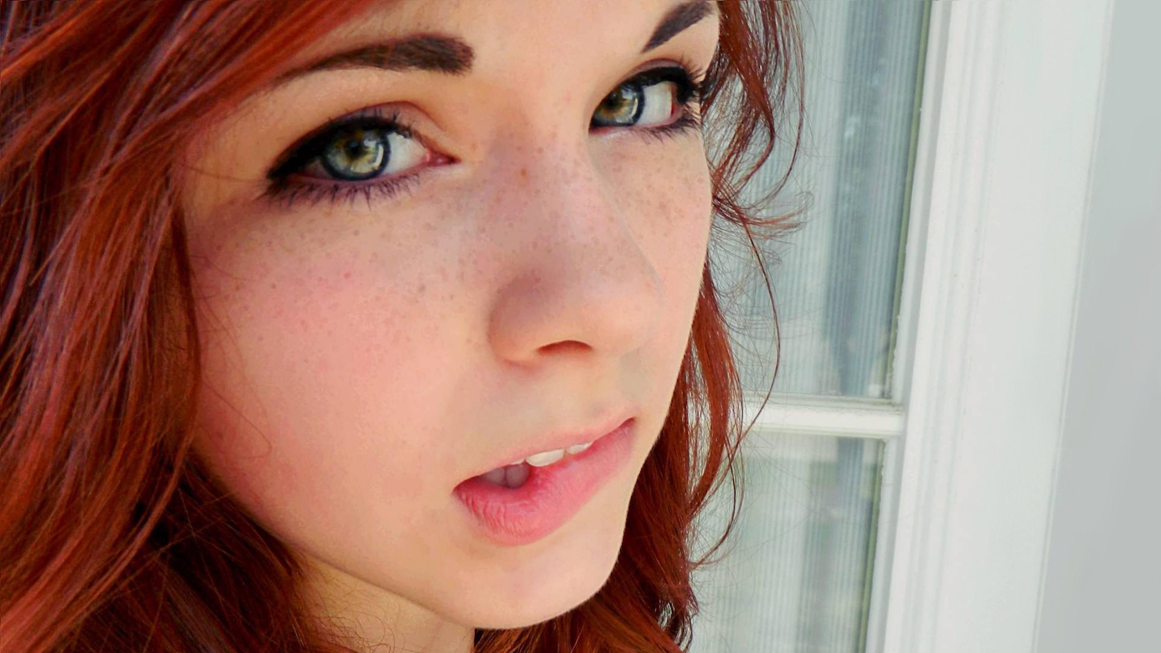3840x2160 Wallpaper green-eyed, girl, eyes, face
