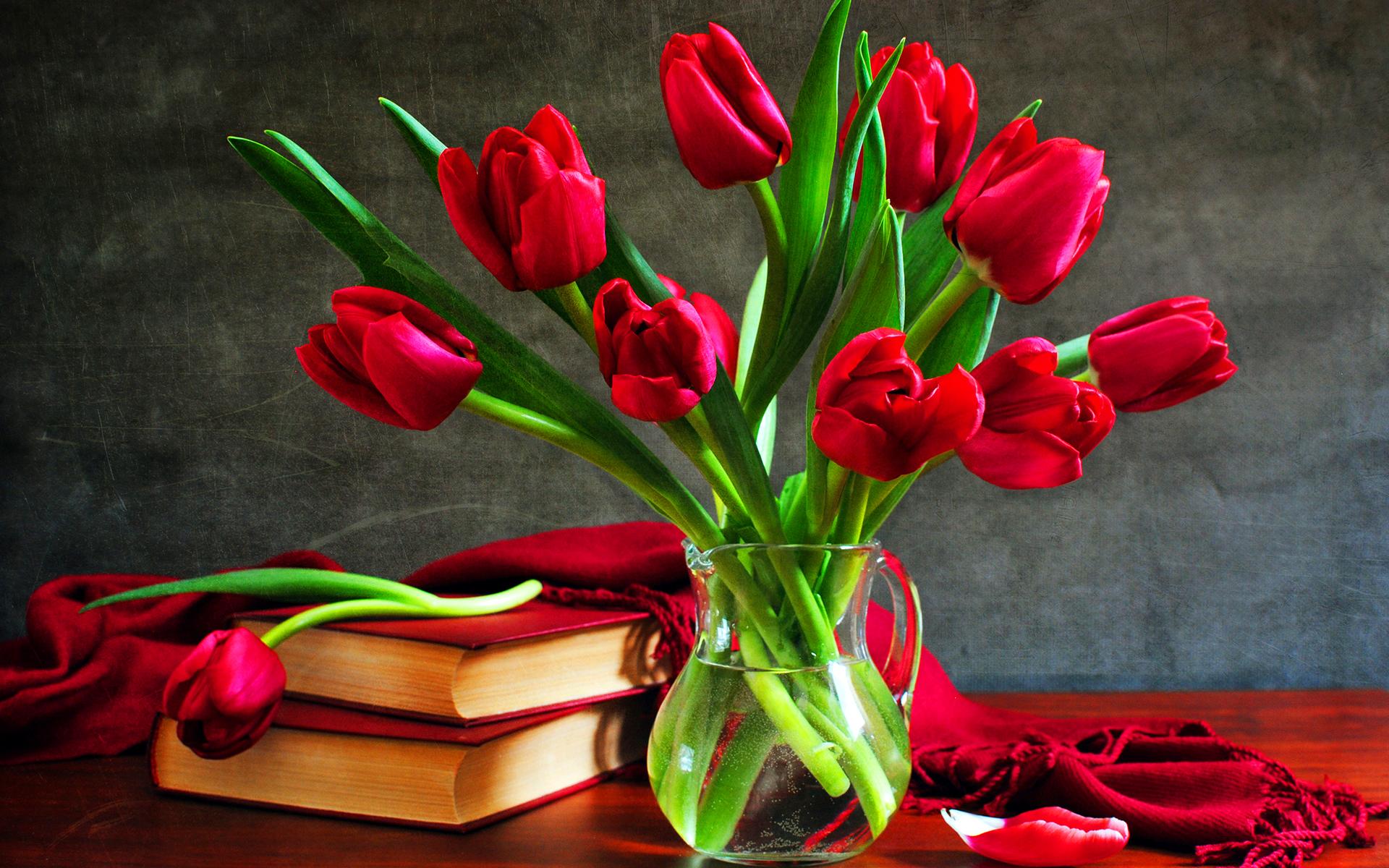 Grunge tulips books vase