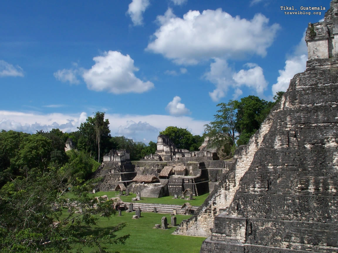 Guatemala has a lot of Ancient Mayan ruins like this one: