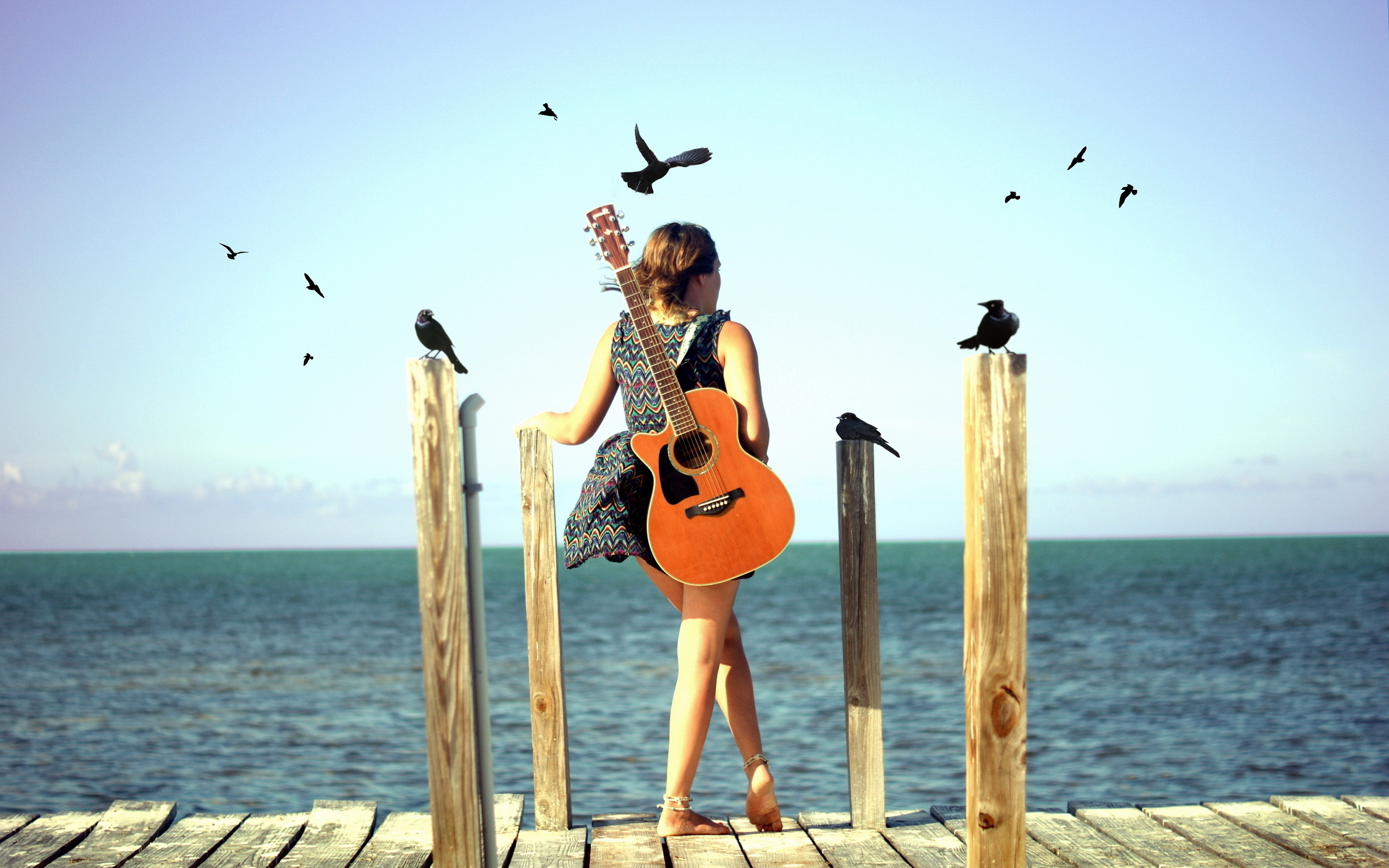Guitar Girl Beach Wallpaper 2560x1600 28709