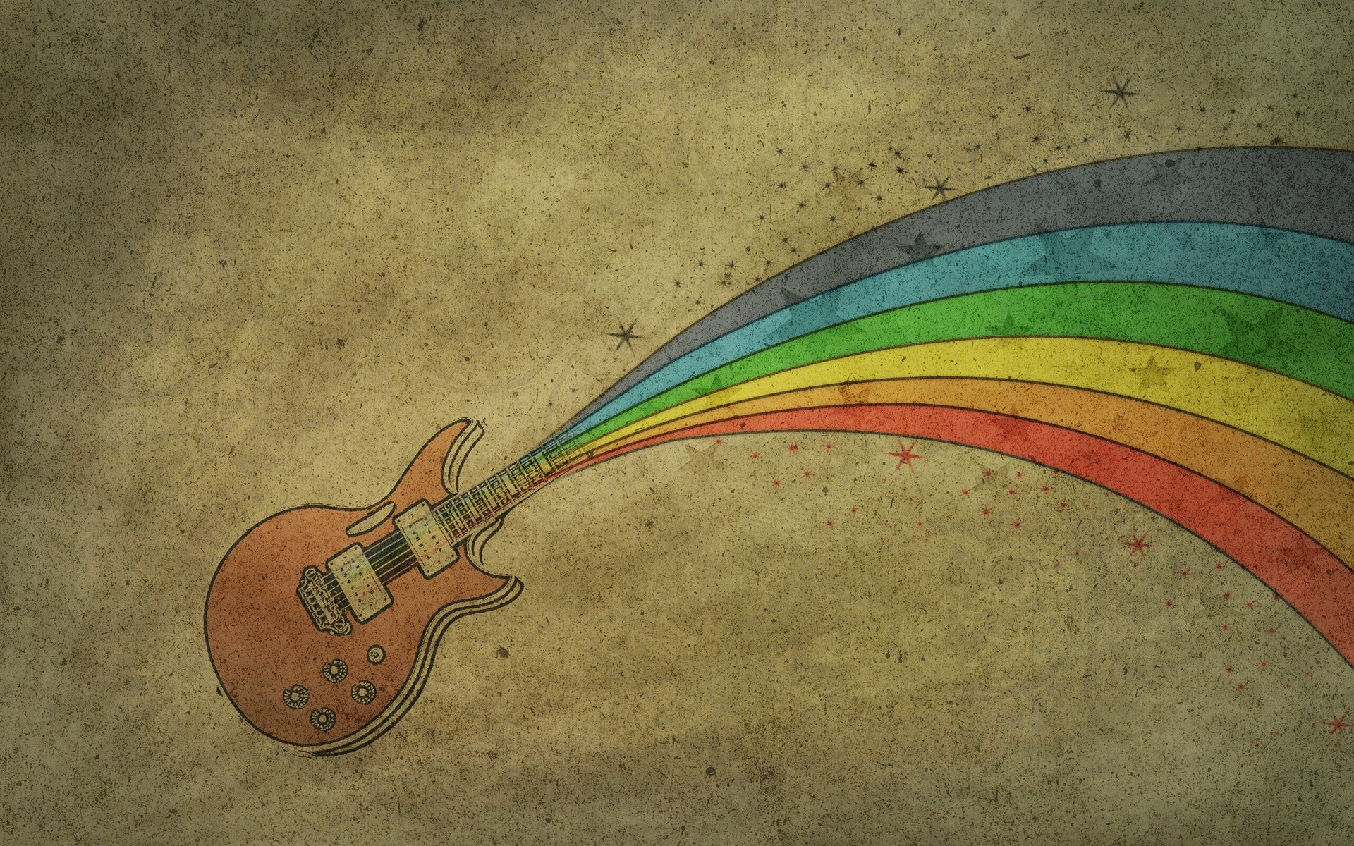 Guitar Rainbow Drawing
