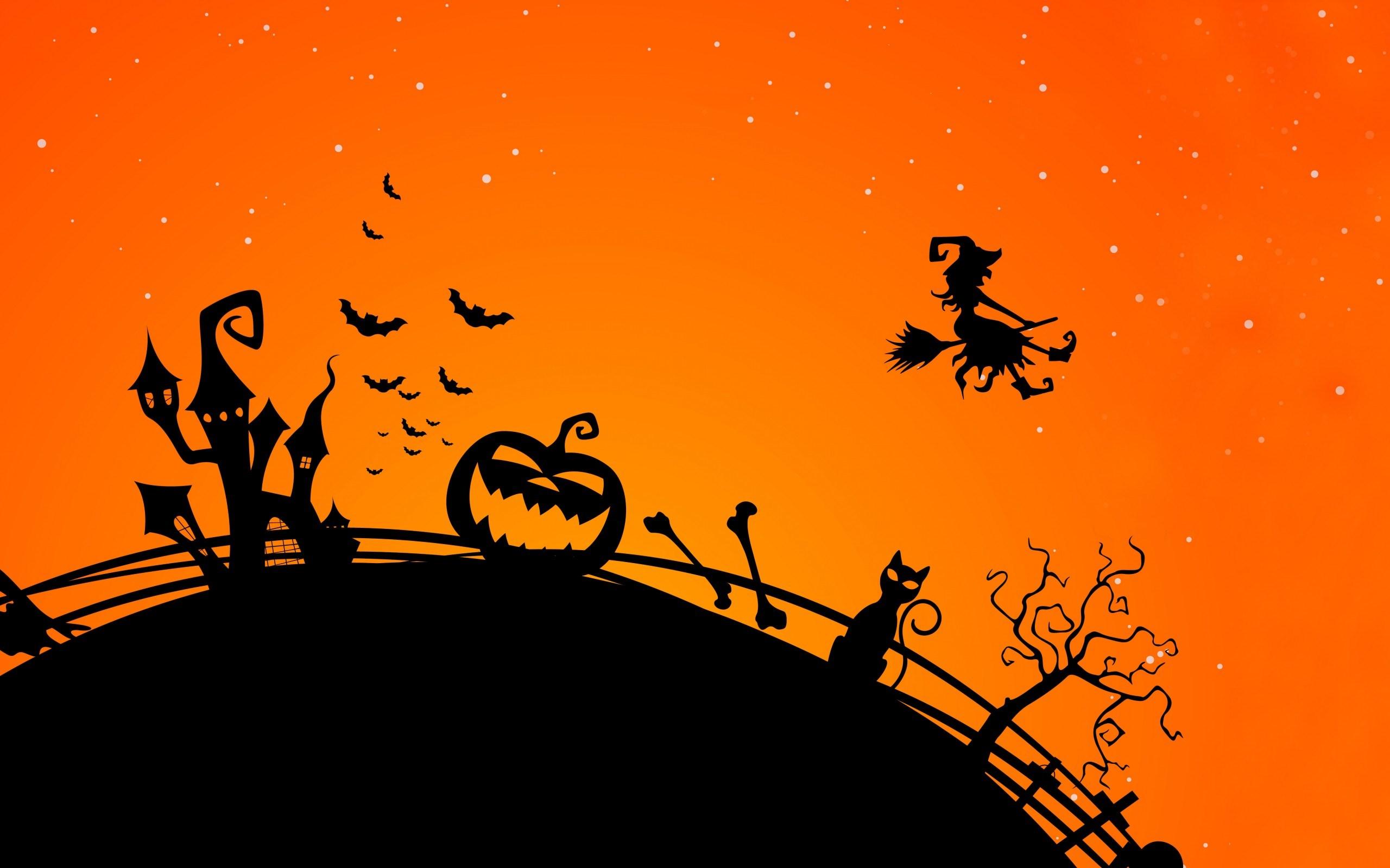 Halloween Creepy Bats Midnight Cat Witch Pumpkin
